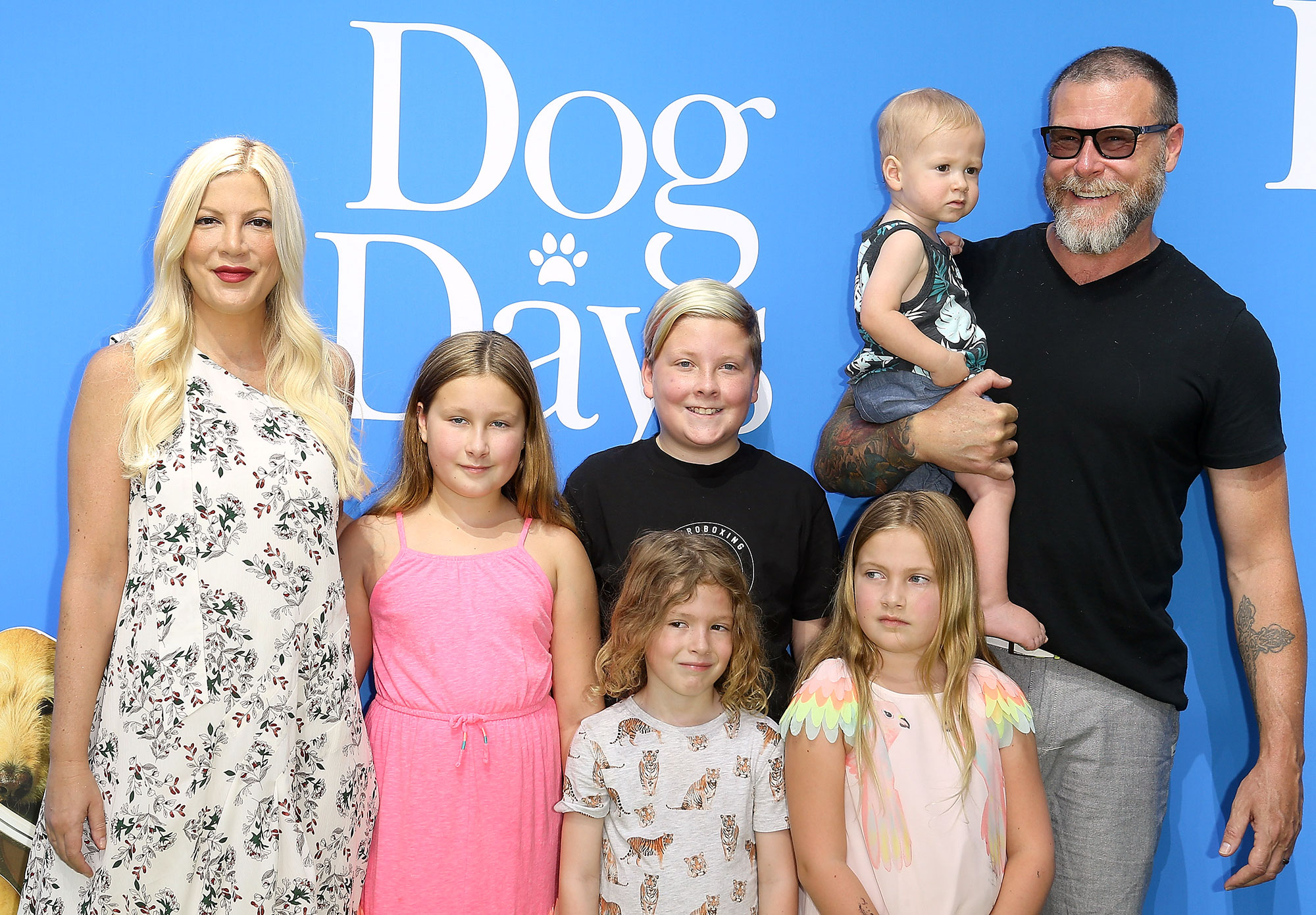 "Tori Spelling and Dean McDermott Aren't Shutting Down the Possibility of Having Another Kid - Tori Spelling with Dean McDermott and their children attend the Los Angeles premiere of LD Entertainment's ""Dog Days"" held at Westfield Century City on August 5, 2018 in Century City, California."