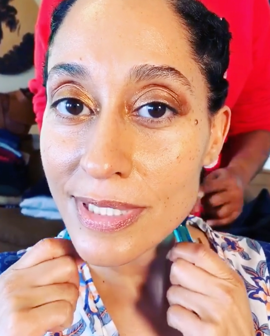 "Tracee-Ellis-Ross-grammy-awards-2019 - The actress, there to support her mom Diana Ross, posted a video of her pre-show ritual for a tight chin featuring massaging wands with knobs on the end or, as she calls them, ""blue balls."""