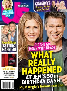 Us Weekly cover Jennifer Aniston 50th Birthday Brad Pitt
