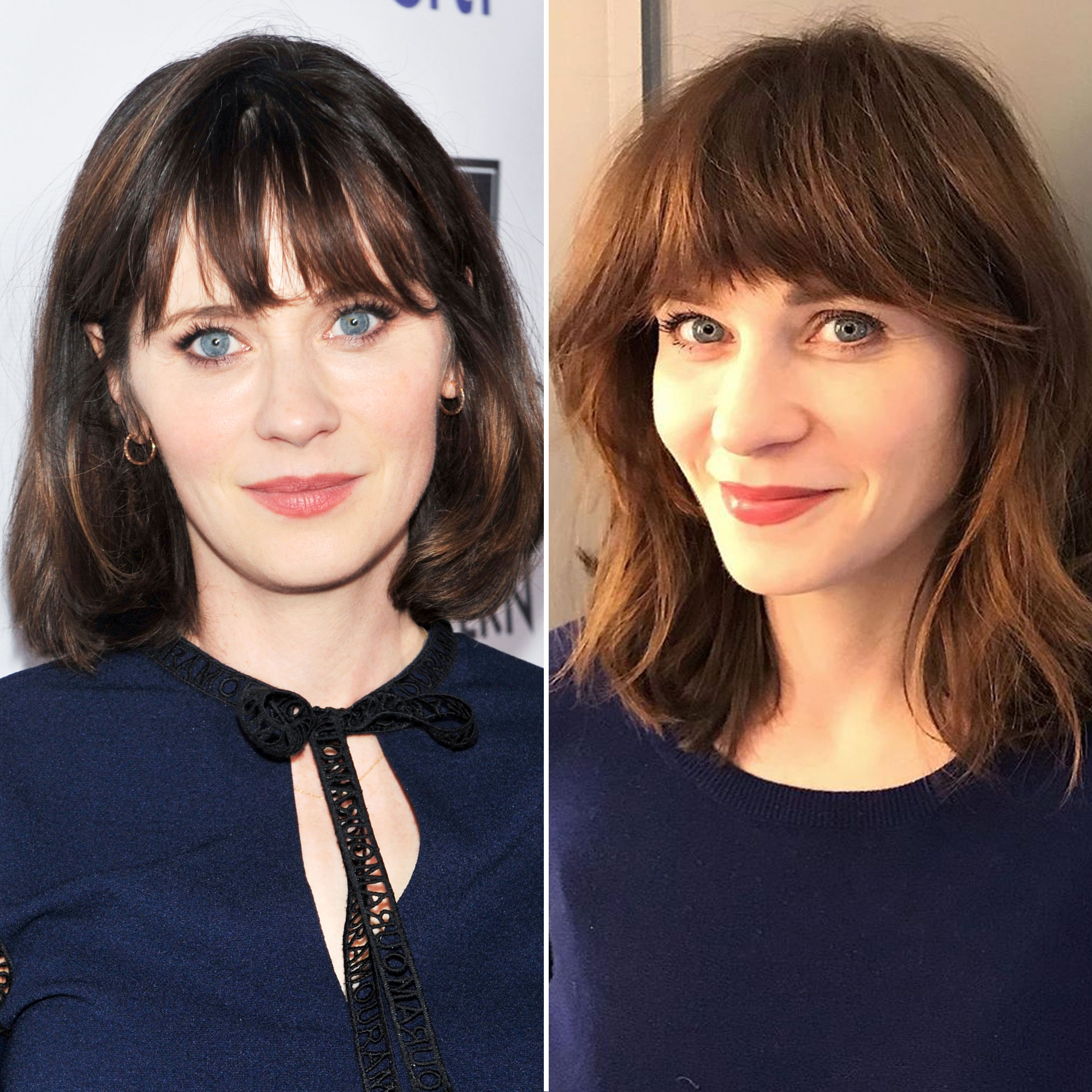 Zooey Deschanel's New Haircut Is One of the Best of 2019 So Far - The New Girl star gave us some seriously cute spring hair inspo on February 19 thanks to her fresh shoulder-grazing chop and brow-length bangs courtesy of hairstylist Jennifer Loura.