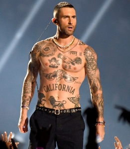 ab93be08b Does Adam Levine's Tattoo Spell 'Bro' With His Nipple as the 'O'?