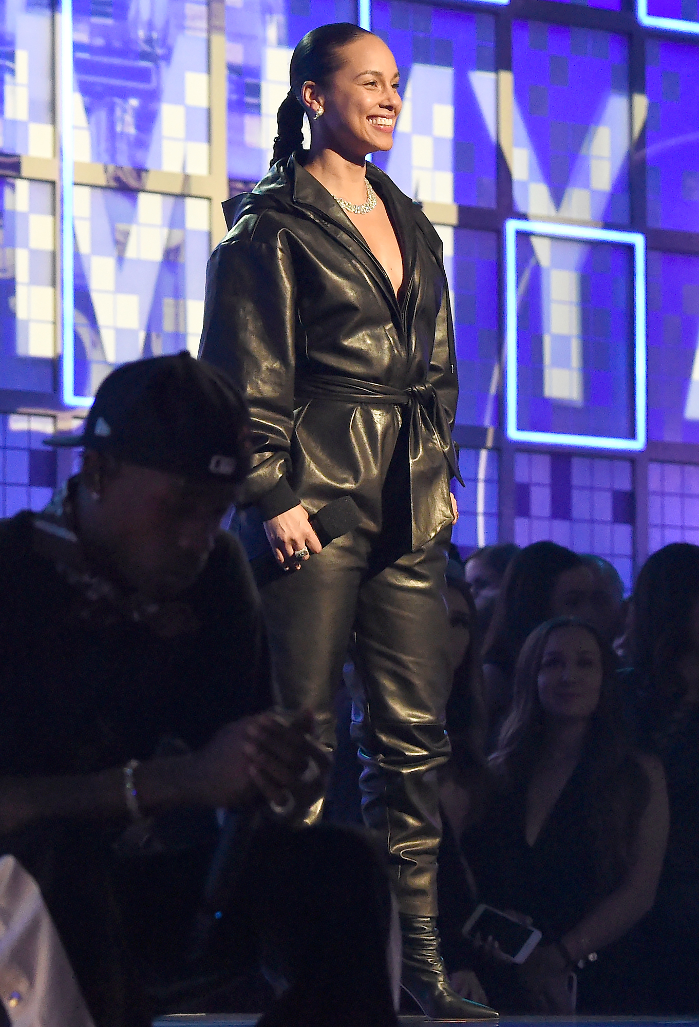 alicia-keys-grammys-2019-looks-4 - It doesn't get much fiercer than the all-leather-everything jumpsuit and boots combo.