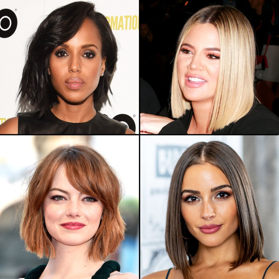 Kerry Washington Khloe Kardashian Emma Stone Olivia Culpo bob lob hairstyle