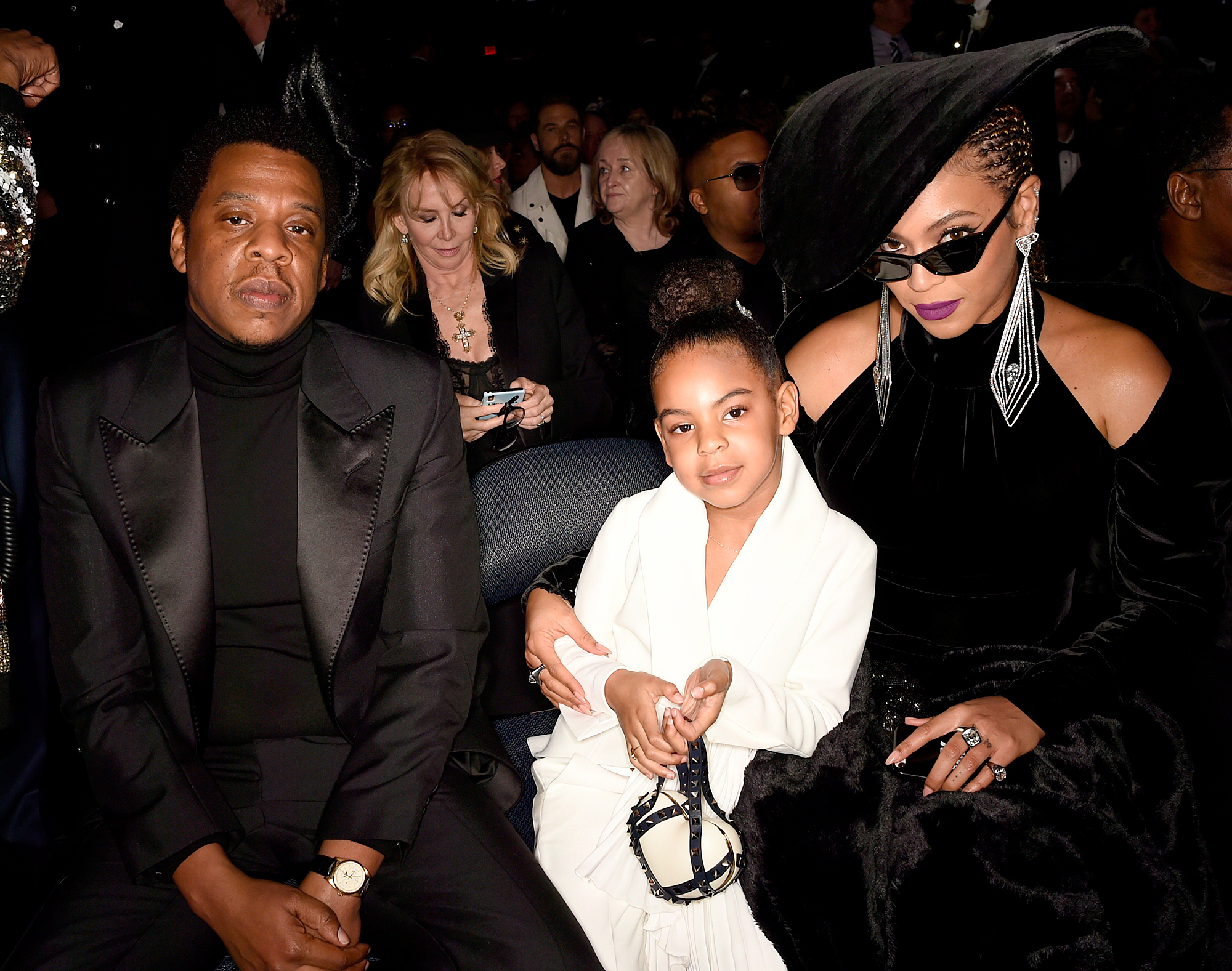 jay-z-blue-ivy-beyonce - Jay-Z, Blue Ivy and Beyonce at The 60th Annual Grammy Awards on January 28, 2018.