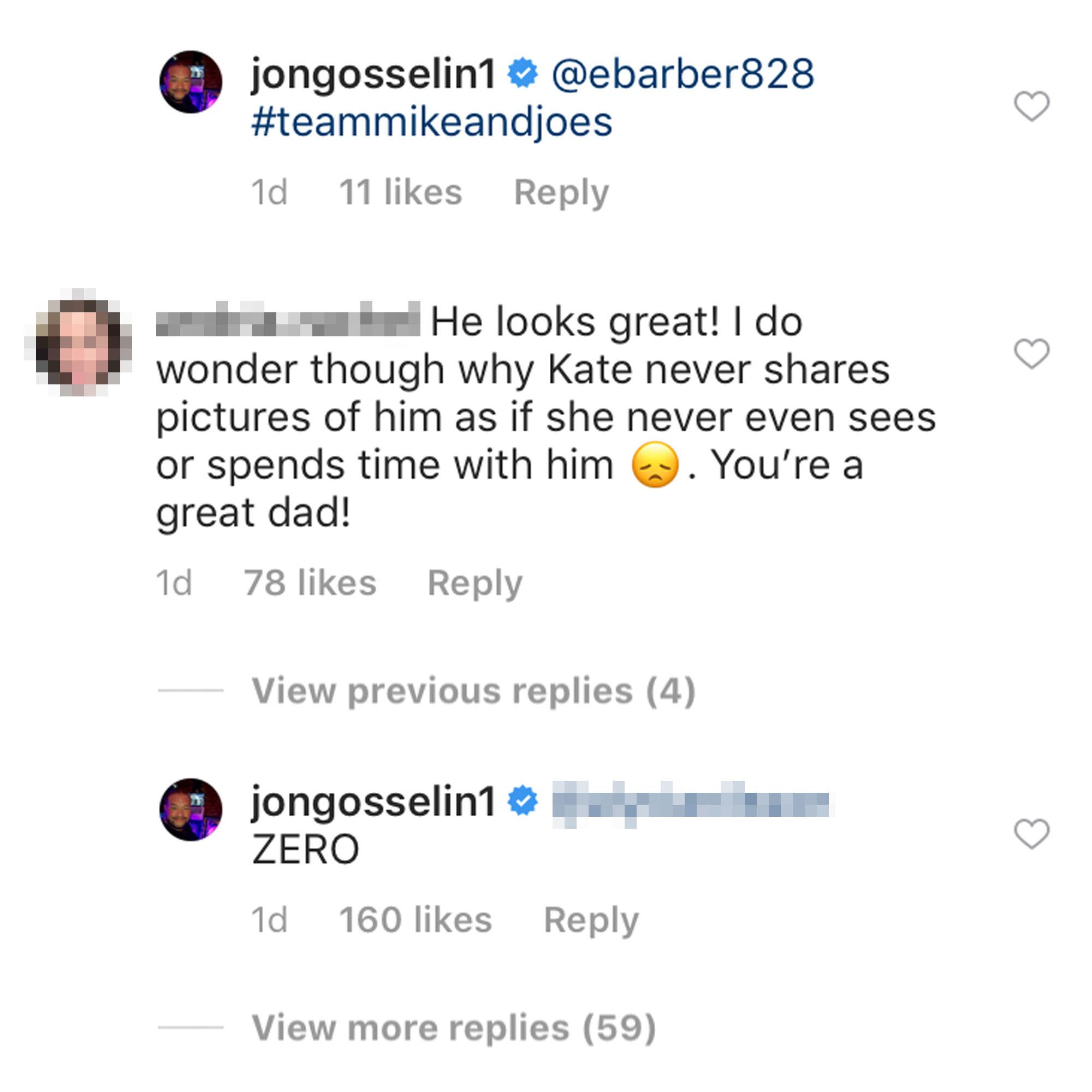Jon Gosselin Claims Ex Kate Gosselin Has 'Zero' Interaction With Their Son Collin - Jon Gosselin's comment