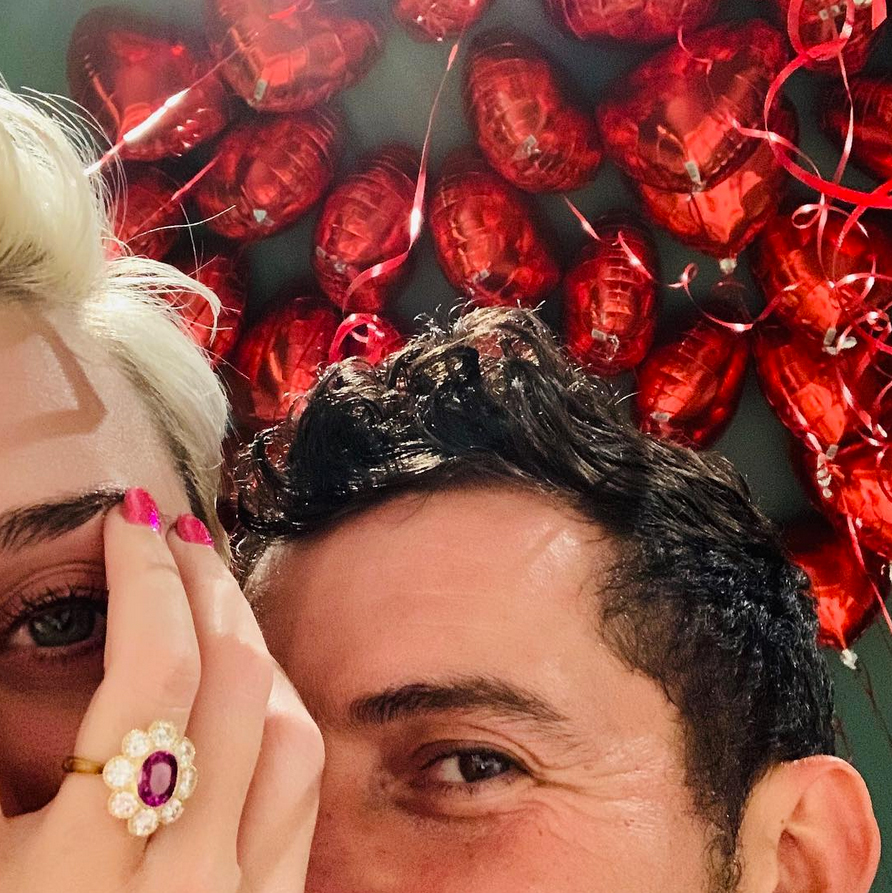 """katy-perry-orlando-bloom-engaged - Perry and Bloom got engaged after he popped the question on Valentine's Day . """"Look who got engaged on Valentine's Day,"""" the """"Chained to the Rhythm"""" songstress' mom, Mary Hudson , wrote via Facebook in February 2019."""