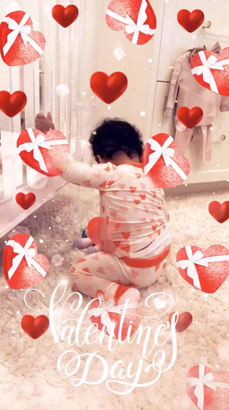 True Thompson Cute Celebrity Kids Celebrating Valentine's Day - Khloé and Tristan Thompson 's daughter started February 14 off the right way in a pair of heart-printed pajamas.