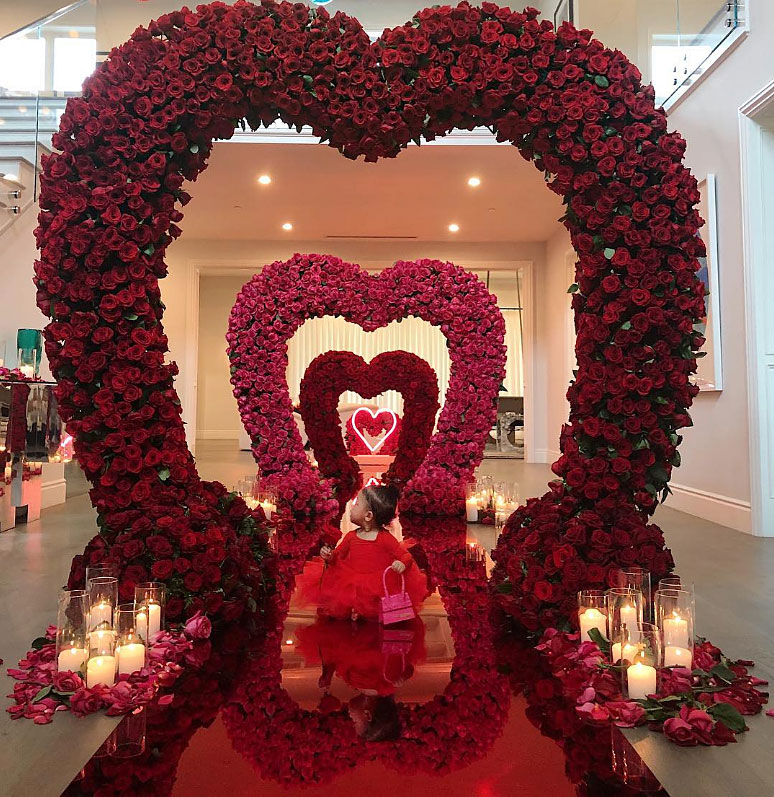 Cute Celebrity Kids Celebrating Valentine's Day - Kylie and Travis' baby girl celebrated her second Valentine's Day from underneath an arch of roses.
