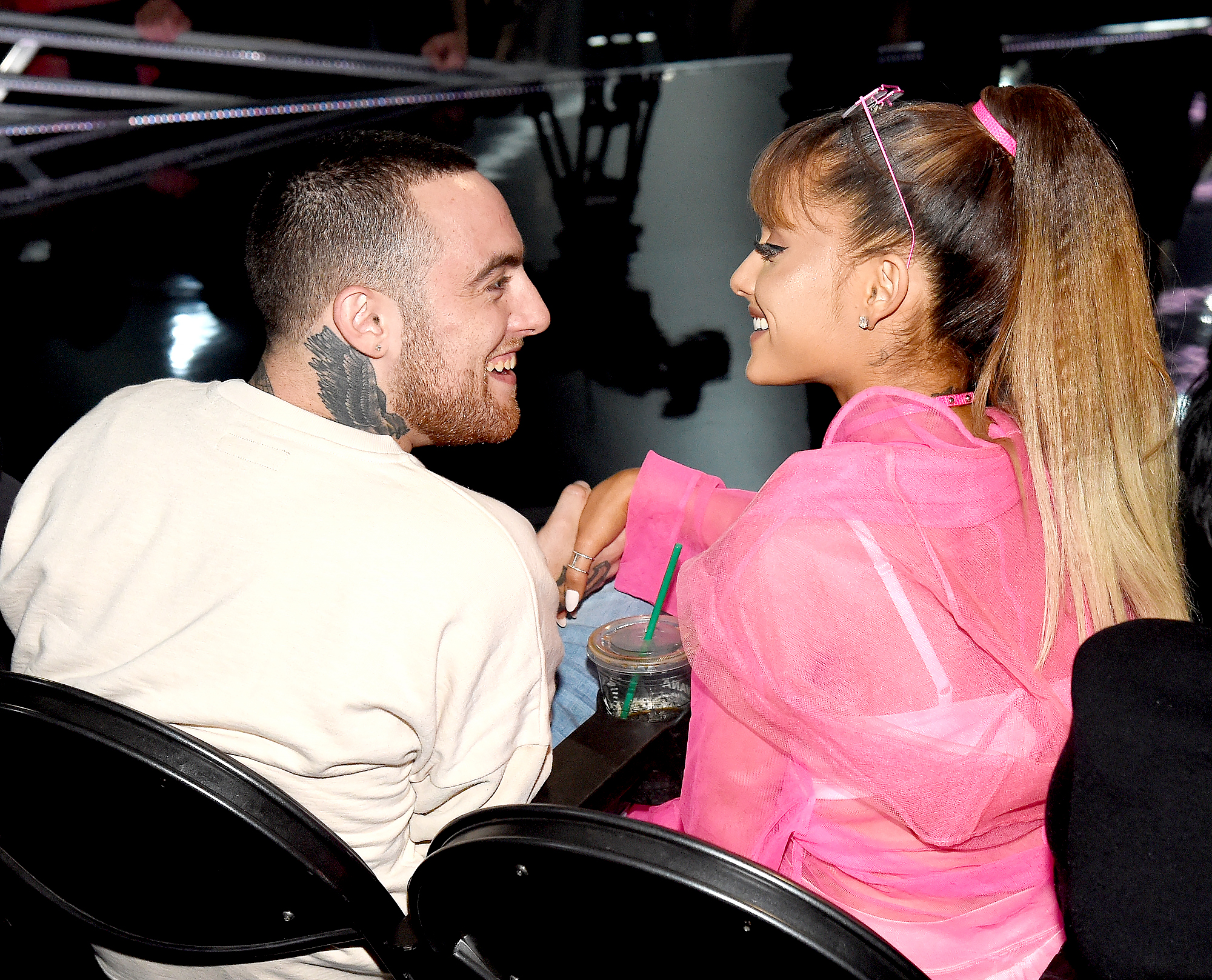 mac-miller-ariana-grande - Mac Miller and Ariana Grande share a moment in the audience during the 2016 MTV Video Music Awards at Madison Square Garden on August 28, 2016 in New York City.