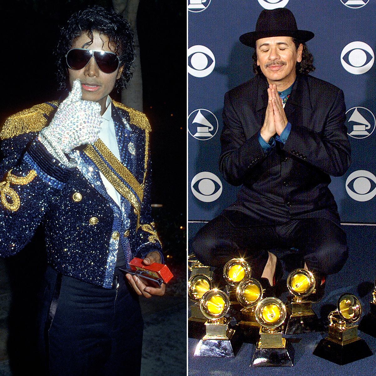 michael-jackson-santana-grammy-awards - Michael Jackson won eight Grammys at the 1984 show, and Carlos Santana achieved the same feat 16 years later.