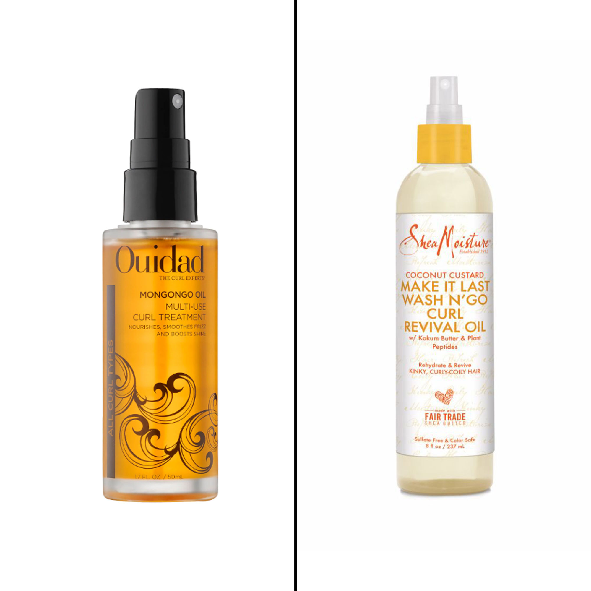 Splurge vs. Save: Salon-Worthy Hair Treatments For Every Type of Need - Splurge: Ouidad Mongongo Oil Mult-Use Curl Treatment This nourishing elixir absorbs quickly so not to be greasy when restoring luster to limp curls. $38, ouidad.com Save: SheaMoisture Coconut Custard Make It Last Wash N' Go Curl Revival Oil Thanks to coconut oil, kokum butter and plant peptides this spray revitalizes curls for stunning definition.
