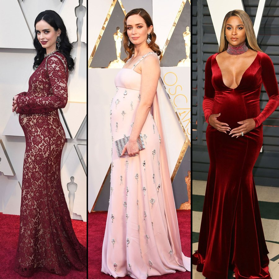 oscars 2019 Krysten Ritter and Emily Blunt and Ciara Pregnant Celebrities Showing Off Their Baby Bumps on the Oscars Red Carpet