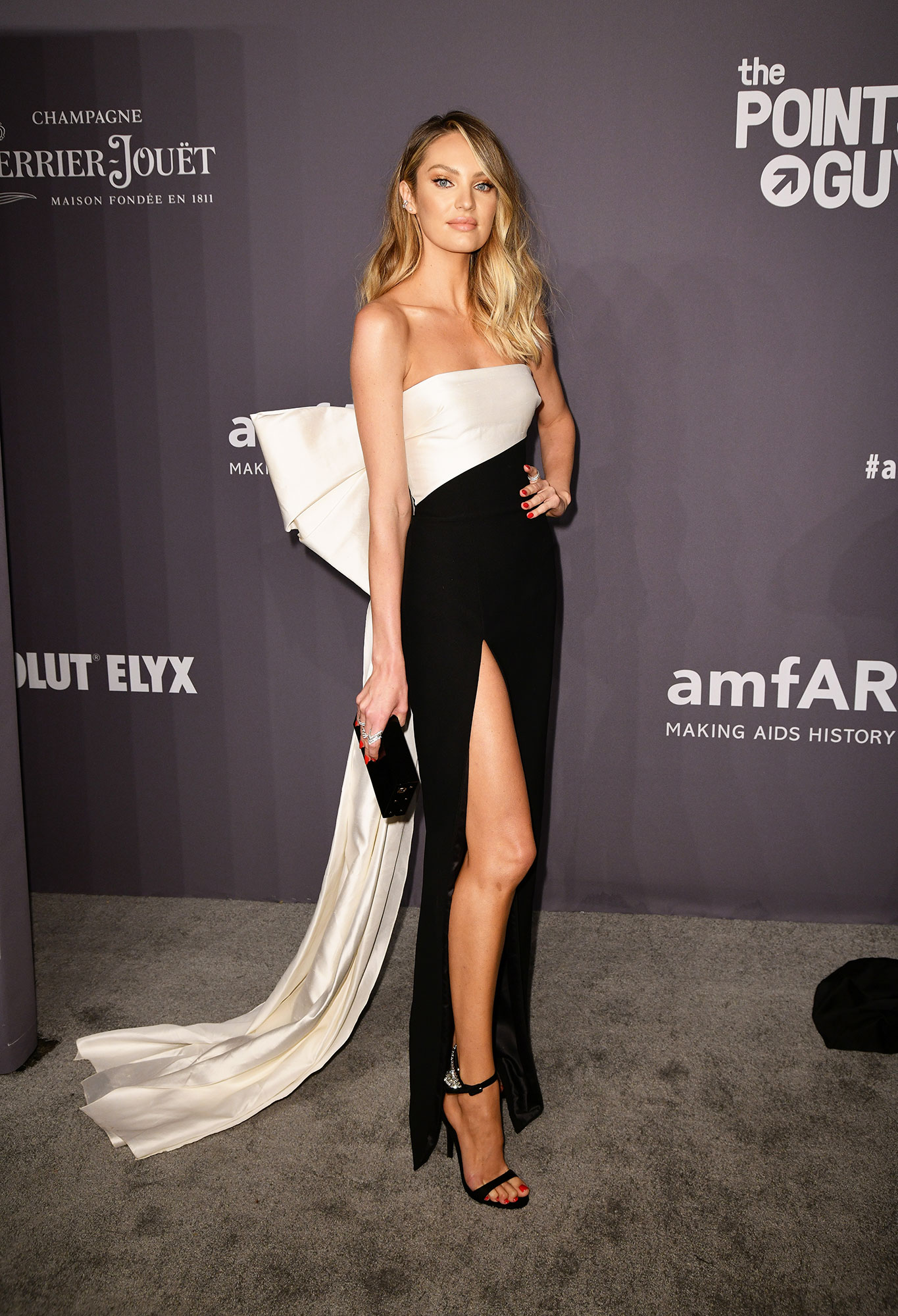 Candice Swanepoel red carpet gallery for Stylish - black and white - In a $2,408 crepe Rasario on Feb. 6.