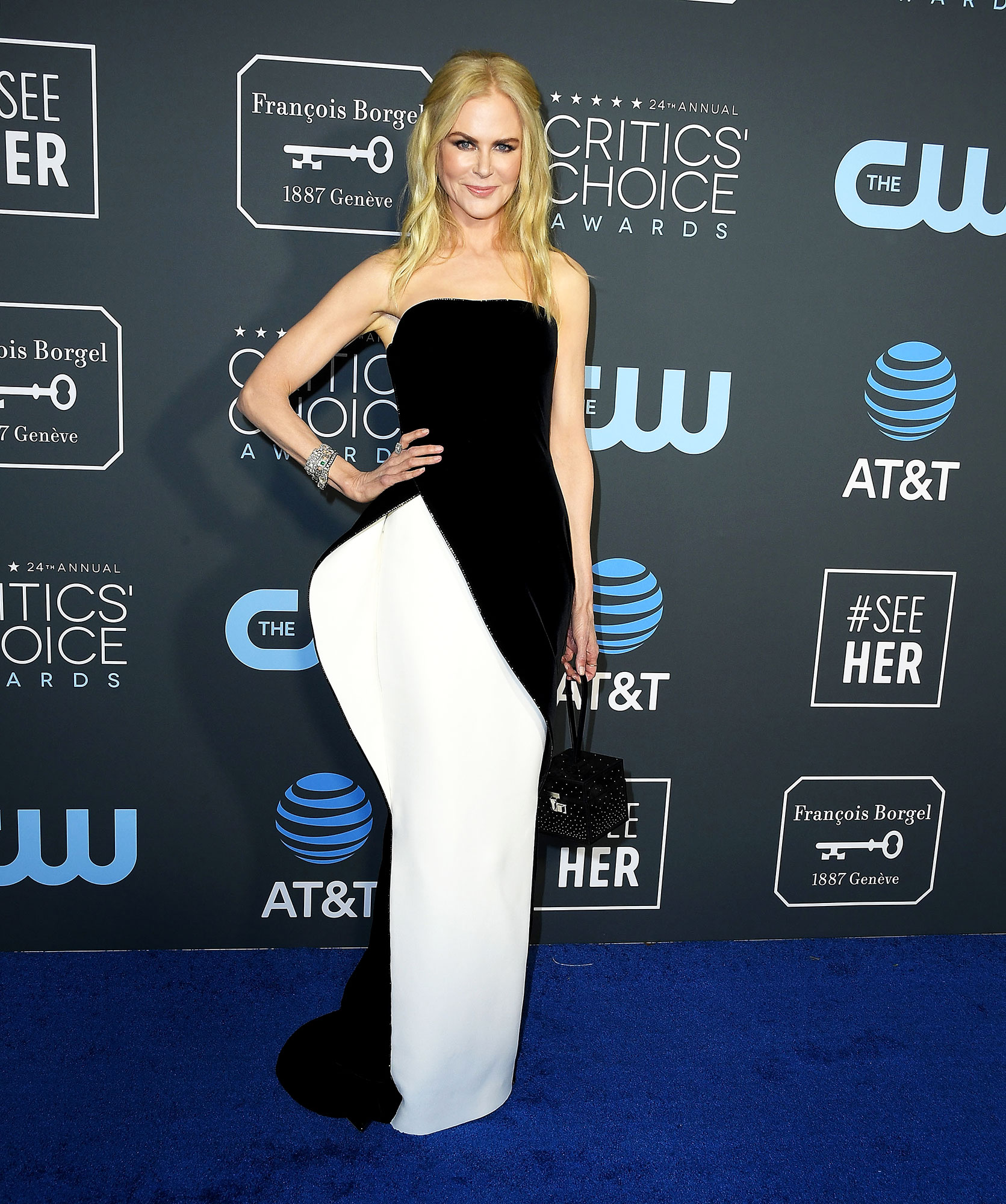Nicole Kidman red carpet gallery for Stylish - black and white - In a silk and velvet Armani Privé on Jan. 13.