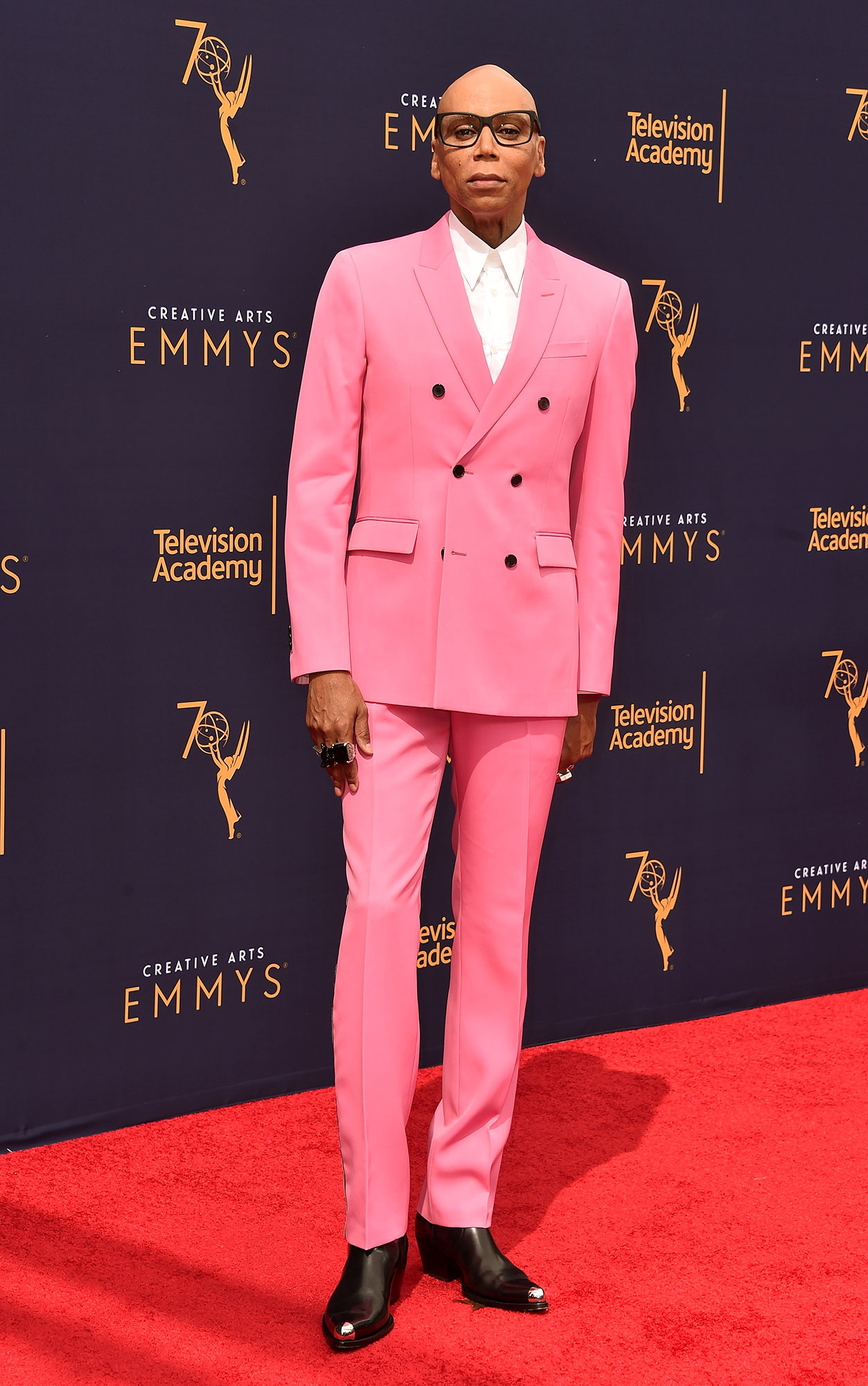 RuPaul - In a hot-pink fitted Calvin Klein 205W39NYC on Sept. 9.