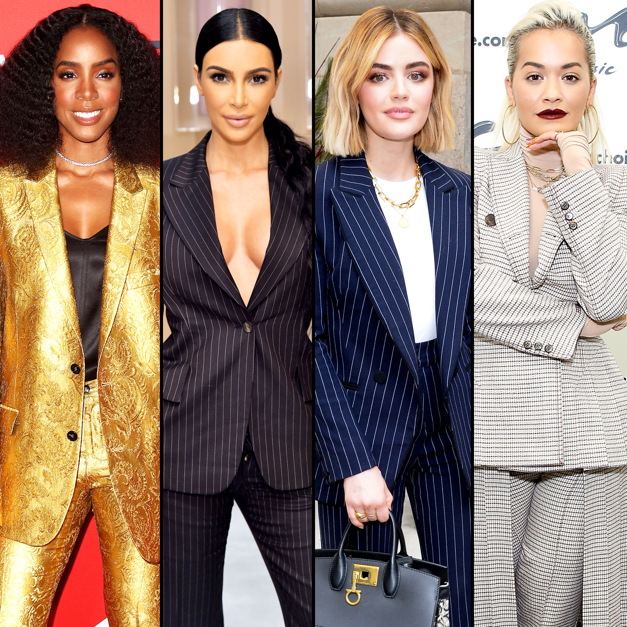 Kelly Rowland, Kim Kardashian, Lucy Hale and Rita Ora - She wears the pants! Jennifer Aniston , Kim Kardashian and more celebs have traded in their gowns for pantsuits and stunned on and off of the red carpet.