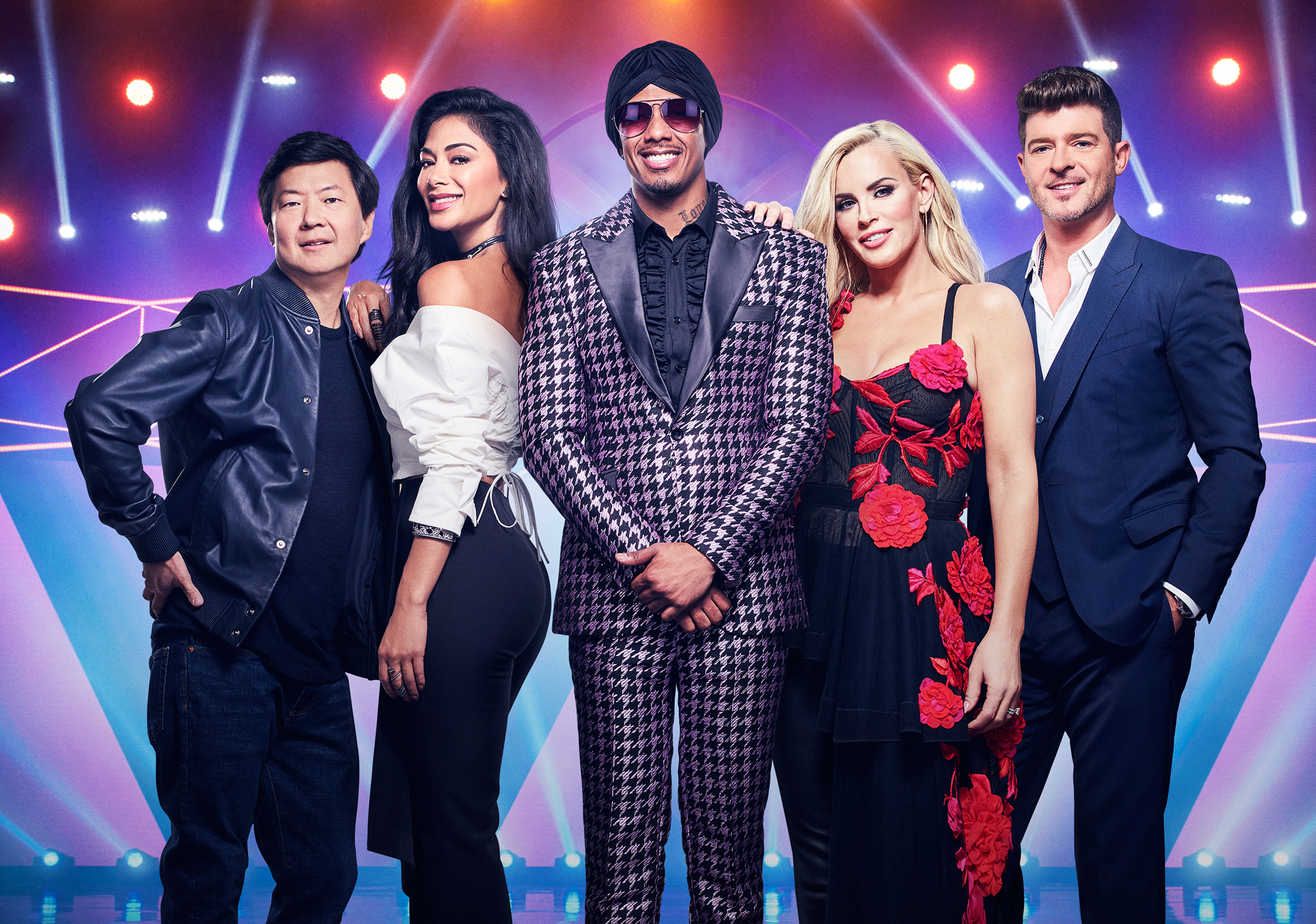 the-masked-singer - Ken Jeong, Nicole Scherzinger, Nick Cannon, Jenny McCarthy and Robin Thicke in THE MASKED SINGER