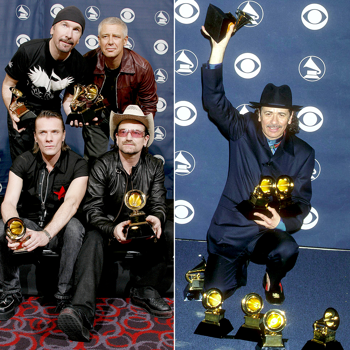 u2-santana-grammy-awards - U2's How to Dismantle an Atomic Bomb and Santana's Supernatural both received a record nine Grammy wins. In fact, the U2 album won three in 2005 and another six the following year.