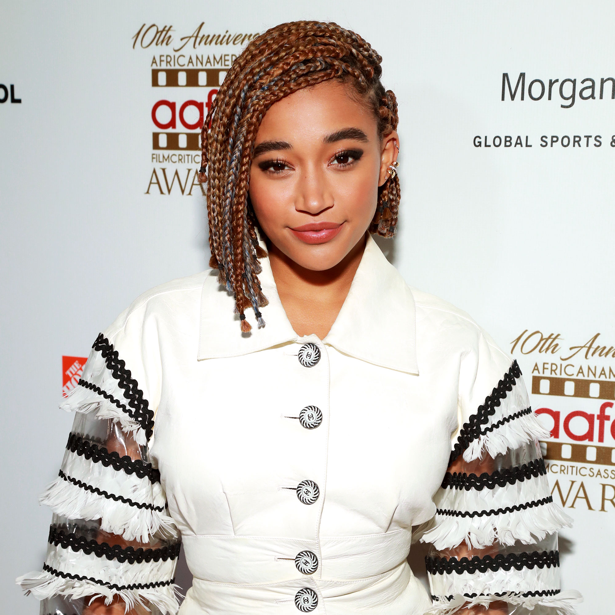Amandla Stenberg - We're not sure what we love most about the actress' cropped plaited 'do at the 10th annual AAFCA Awards: the deep side-part or hints of the season's go-to icy purple hair color.