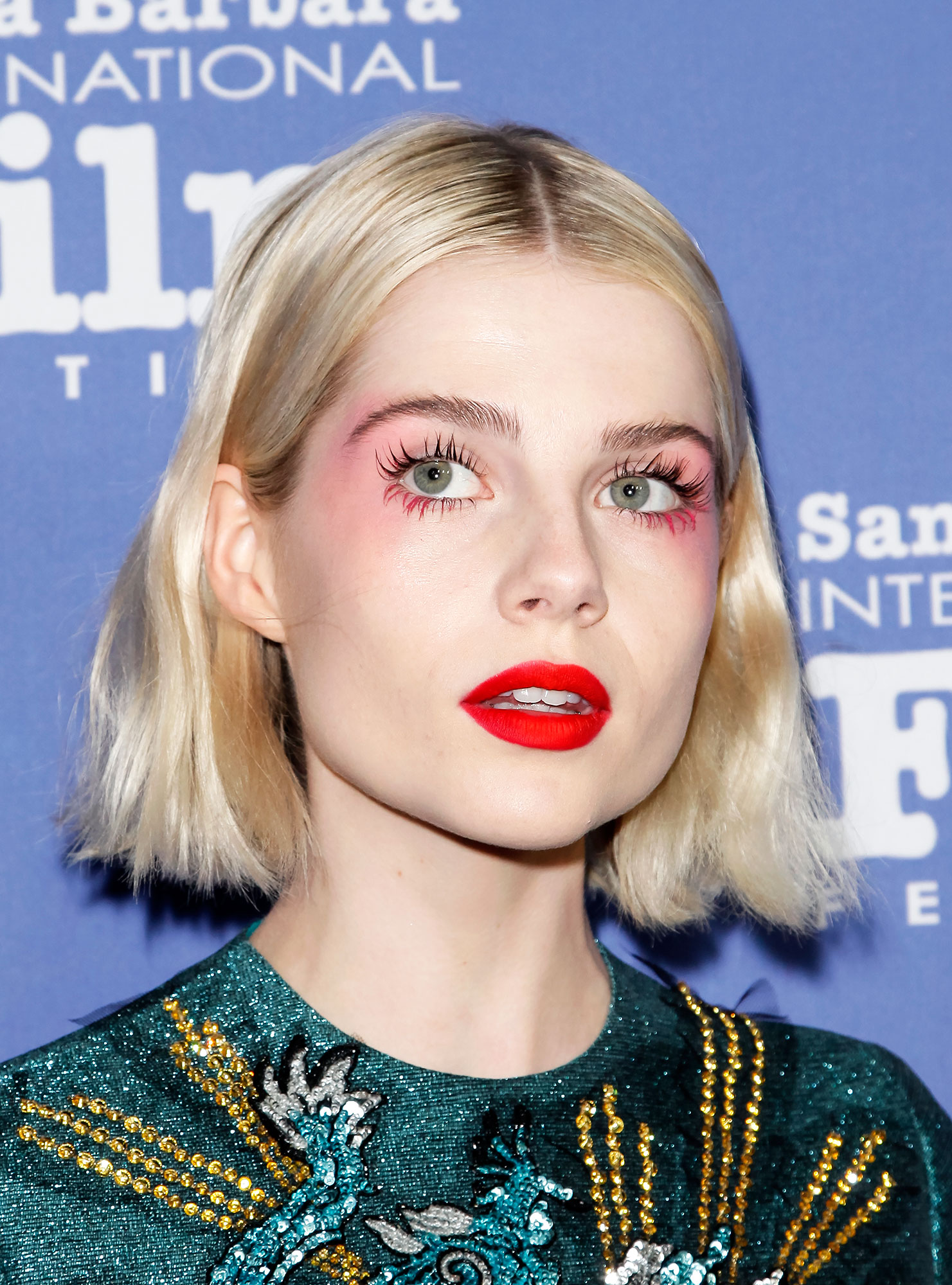 """Lucy Boynton - For a high-fashion take on Valentine's Day's classic pink and red color combo, look no further that the """"medieval geisha doll"""" look celeb makeup artist Jo Baker created for the Bohemian Rhapsody actress at the Santa Barbara International Film Festival. In addition to the """"#pinkjelly dreamy flush"""" and """"3D Matte #redlip for #colorcontrast drama,"""" Baker applied the Dior Pump'N'Volume Mascara in Pink Pump on the bottom lashes an eye-opening effect."""