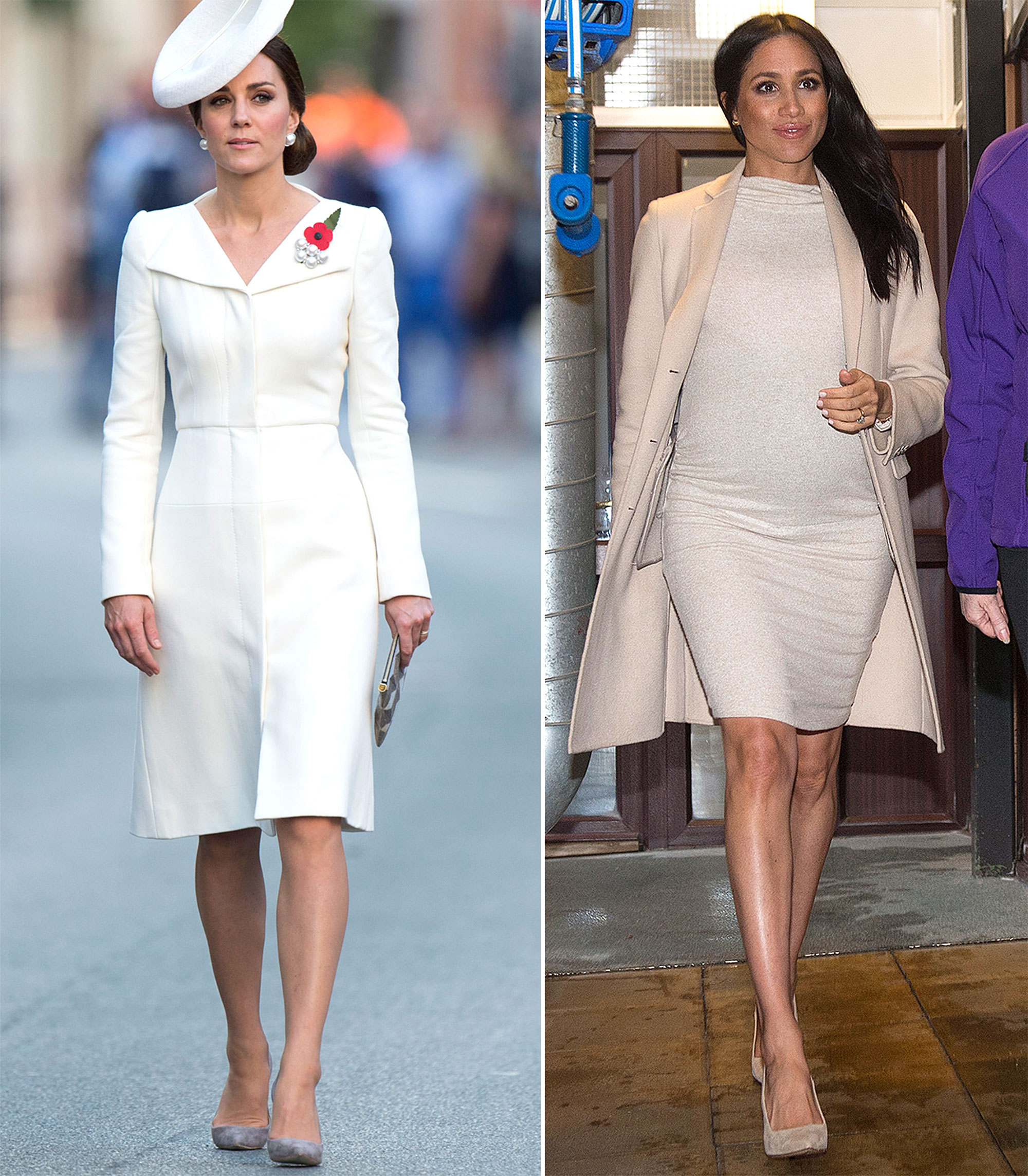 The Royal Style Secret Meghan Markle Stole From Kate Middleton - Proving that white, ivory and the likes deserve to be worn, in large doses, all year round, Duchess Kate rocked a vibrant Alexander McQueen dress (originally debuted at Princess Charlotte's christening) during a July 2017 trip to Belgium. She accessories with a matching fascinator and nude pumps.
