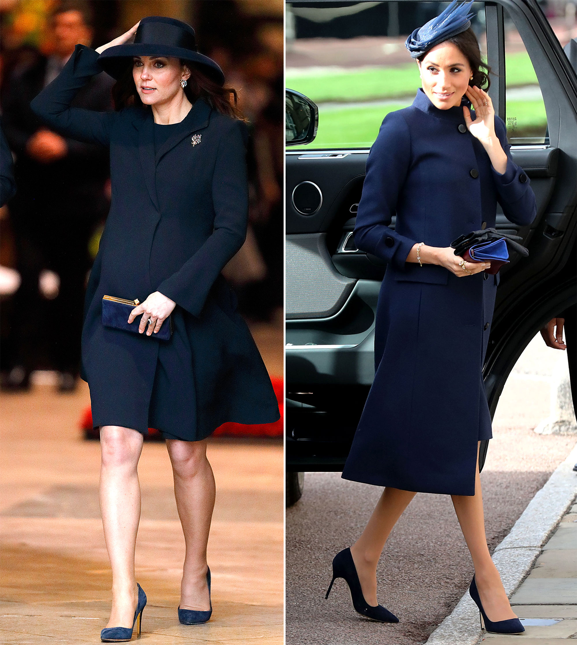 The Royal Style Secret Meghan Markle Stole From Kate Middleton - We don't know what it is about maternity wear, the color navy and members of the Royal Family, but the sisters-in-law have both sported monochrome midnight looks while pregnant. Kate attended the 2018 Commonwealth Day while pregnant with Prince Louis in a Buelah London dress and coat, navy suede pumps and a bow-adorned Lock and Co. hat.
