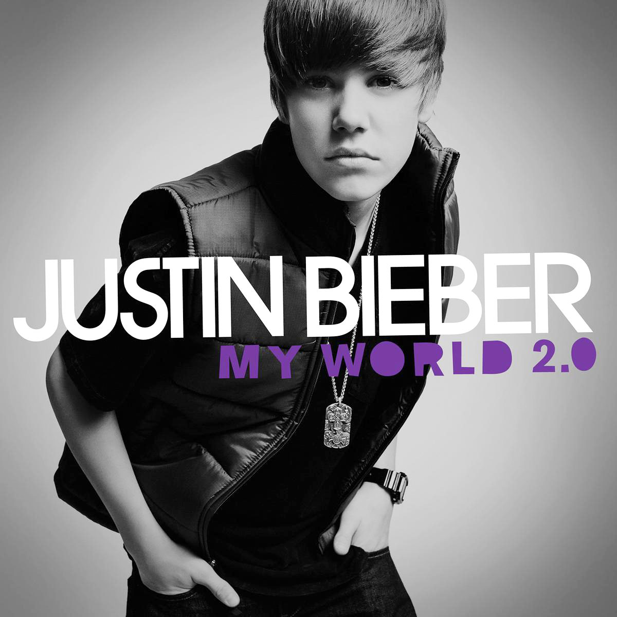 """Justin Bieber Through The Years My World 2.0 - Bieber's first album, My World 2.0 , debuted at No. 1 on the Billboard 200, making him the youngest solo male artist to top the chart since Stevie Wonder in 1963. The disc included collaborations with Ludacris (""""Baby"""") and Sean Kingston (""""Eenie Meenie""""), and was nominated for Best Pop Vocal Album at the Grammys."""