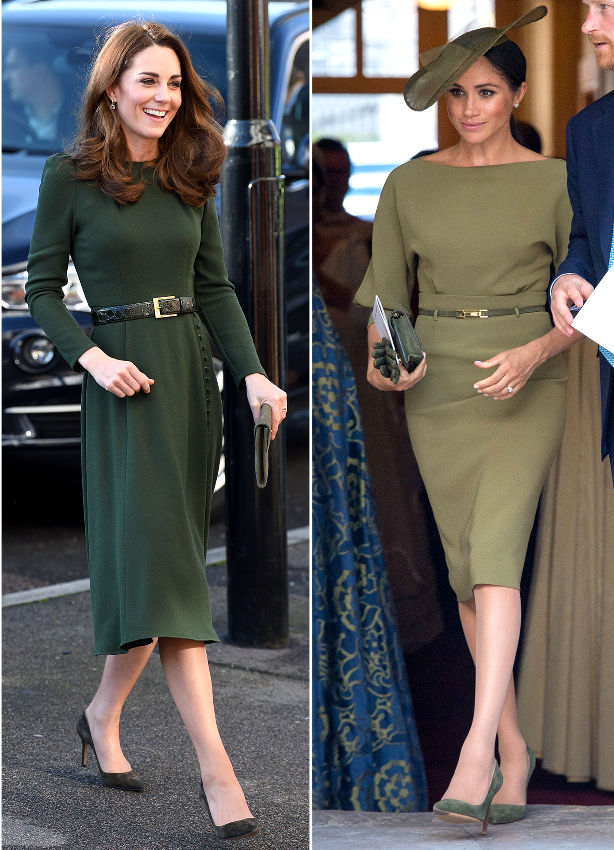 The Royal Style Secret Meghan Markle Stole From Kate Middleton - With an infinite number of shade options, green has become a favorite of both duchesses. In January 2019, the mom-of-three visited the Family Action charity in London in a belted forest green Beulah London midi-length frock that she paired with moss-colored accessories.