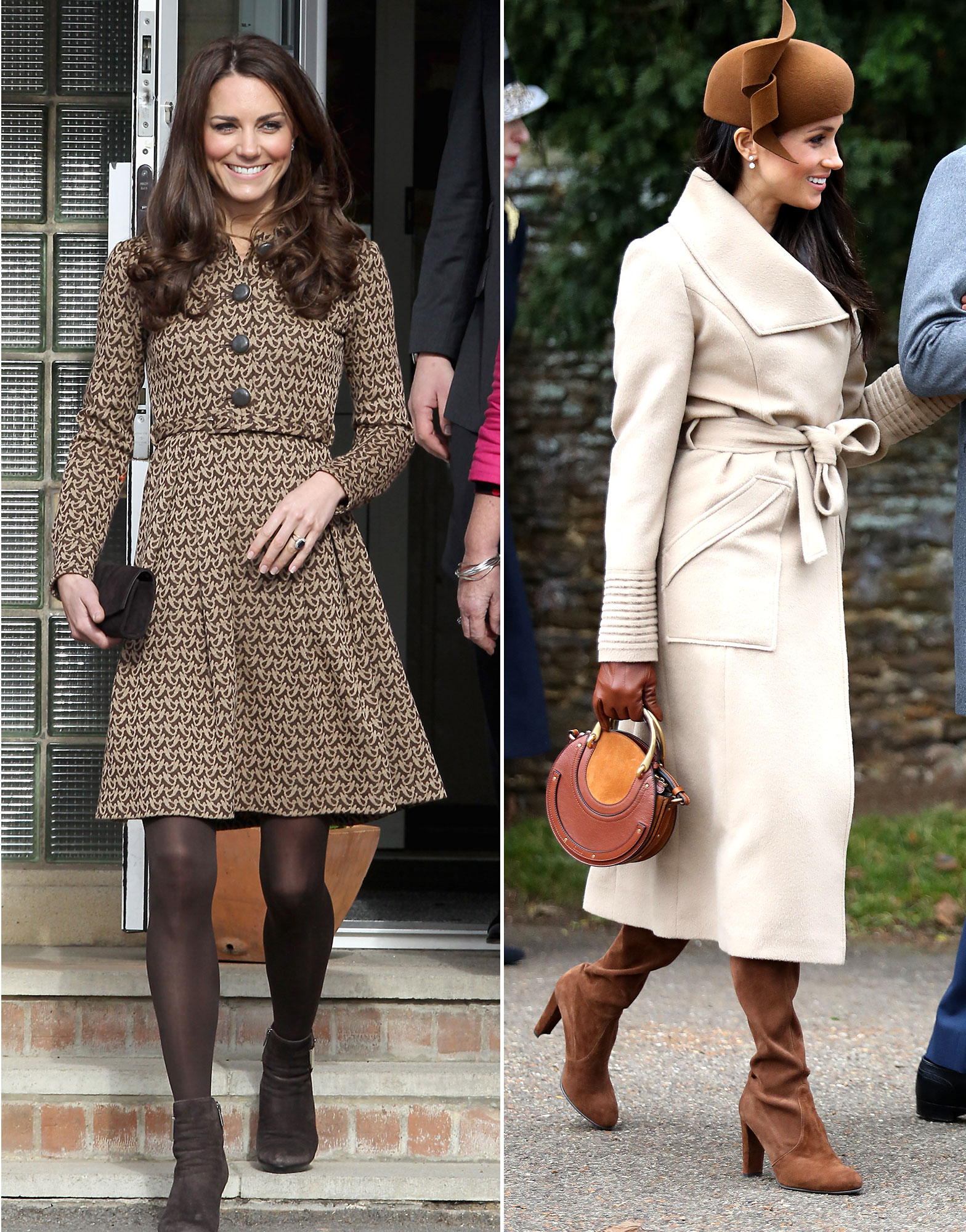 The Royal Style Secret Meghan Markle Stole From Kate Middleton - Offering two different takes on the monochrome trend, Kate and Meghan mixed prints and shades in their brown ensembles. Back in February 2012, the Duchess of Cambridge sported a patterned Orla Kiely coat dress with color-coordinated tights and boots, while the Duchess of Sussex celebrated her first royal Christmas in December 2017 in a multi-hued ensemble that consisted of a sandy Sentaler wrap coat, cognac Stuart Weitzman over-the-knee boots and a custom Philip Treacy fascinator.