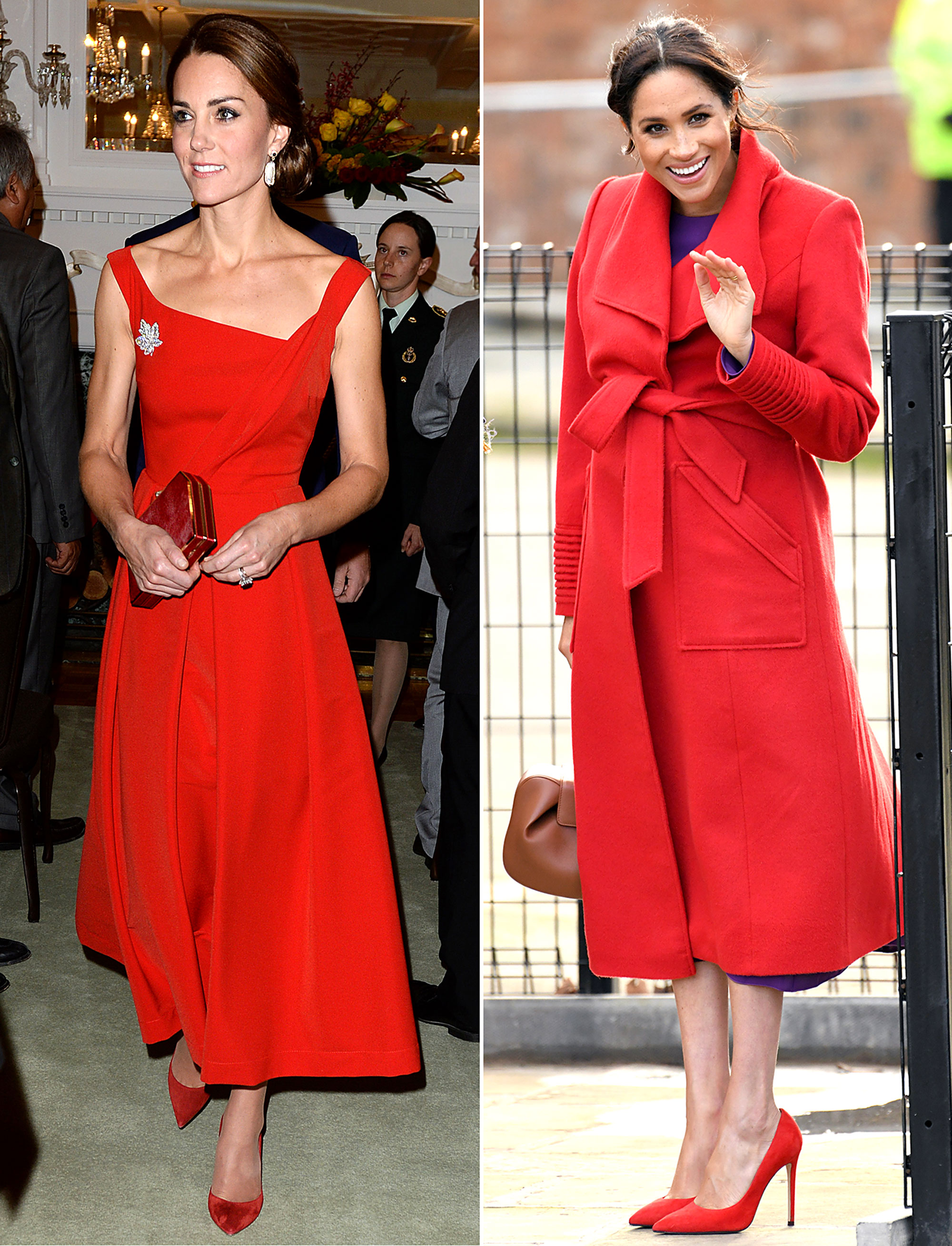 The Royal Style Secret Meghan Markle Stole From Kate Middleton - It doesn't get much more regal than head-to-toe red, as Kate proved in an asymmetrical Preen dress and matching accessories during her September 2016 trip to Canada. More recently, Meghan looked every bit the royal in Birkenhead, England, in January 2019 in a crimson Sentaler wrap coat and matching Stuart Weitzman pumps.