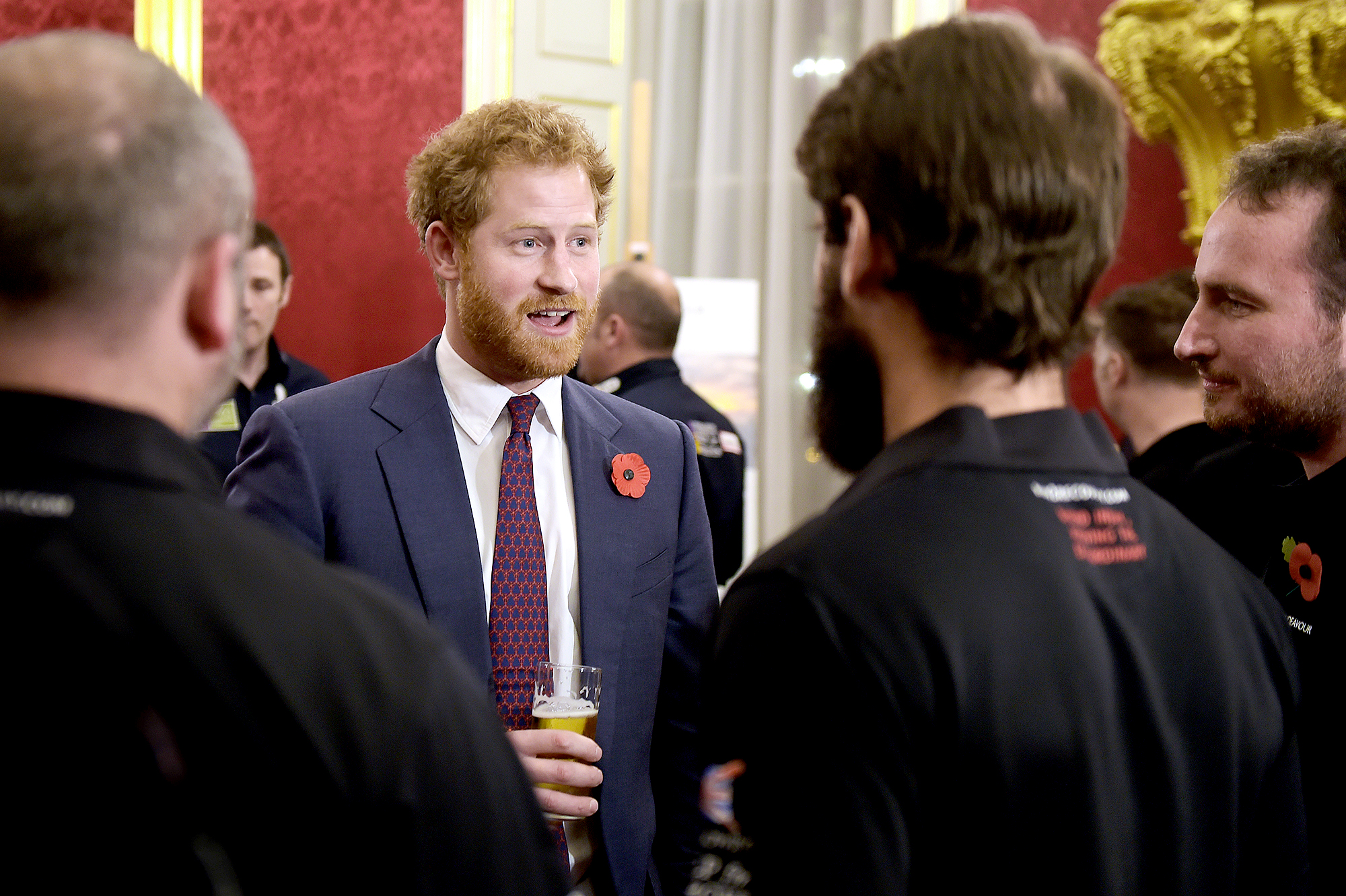 A-Beer-in-the-Palace-prince-harry - Though the royal family isn't exactly encouraged to drink, Prince Harry had a pint in hand while attending a reception for The Endeavor Fund (of which he is a patron) at St. James's Palace in London in November 2015.