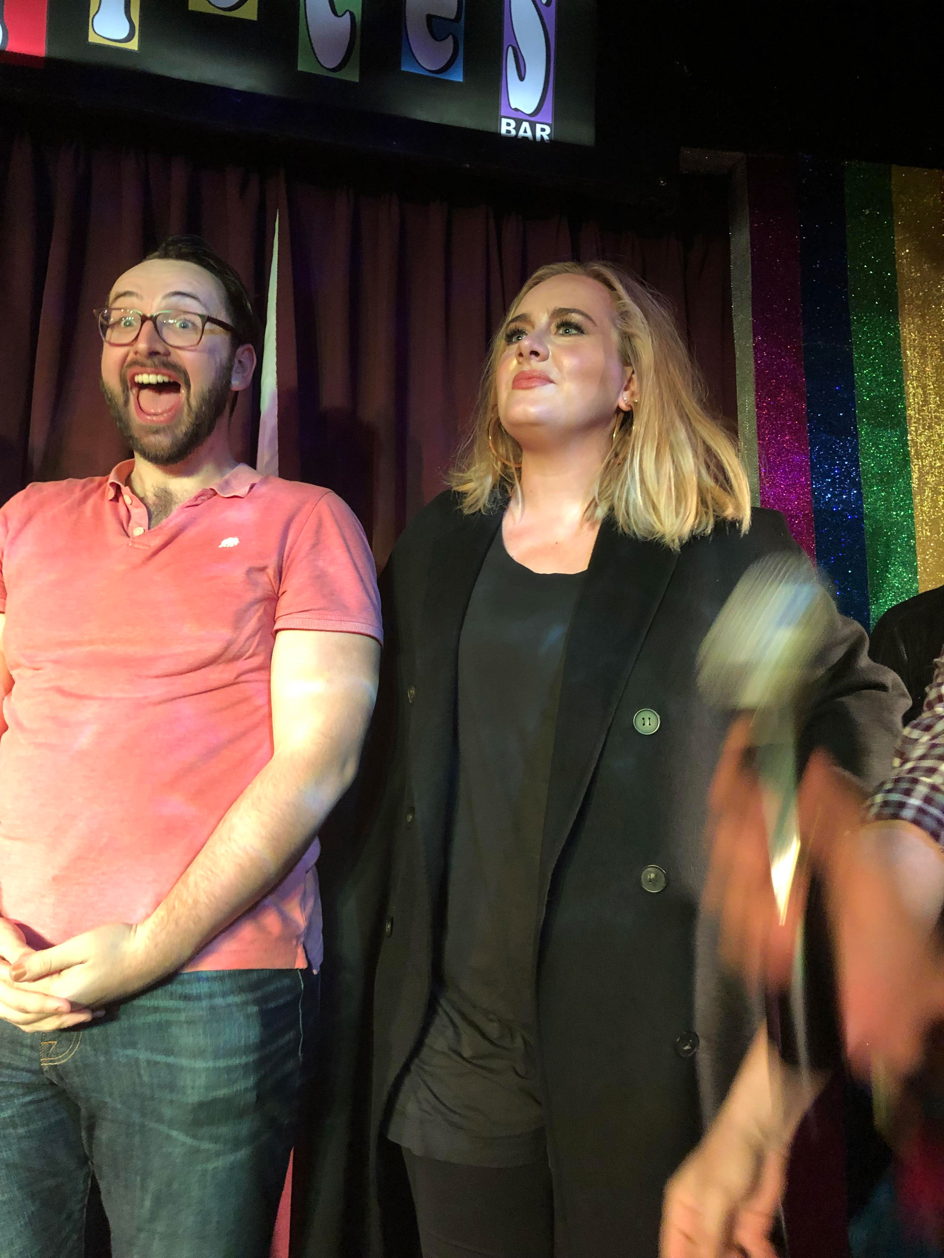 """Adele and Jennifer Lawrence party at NYC bar Pieces - Adele took part in a quiz and then danced to a Kylie Minogue song, singing along to """"Love at First Sight."""""""