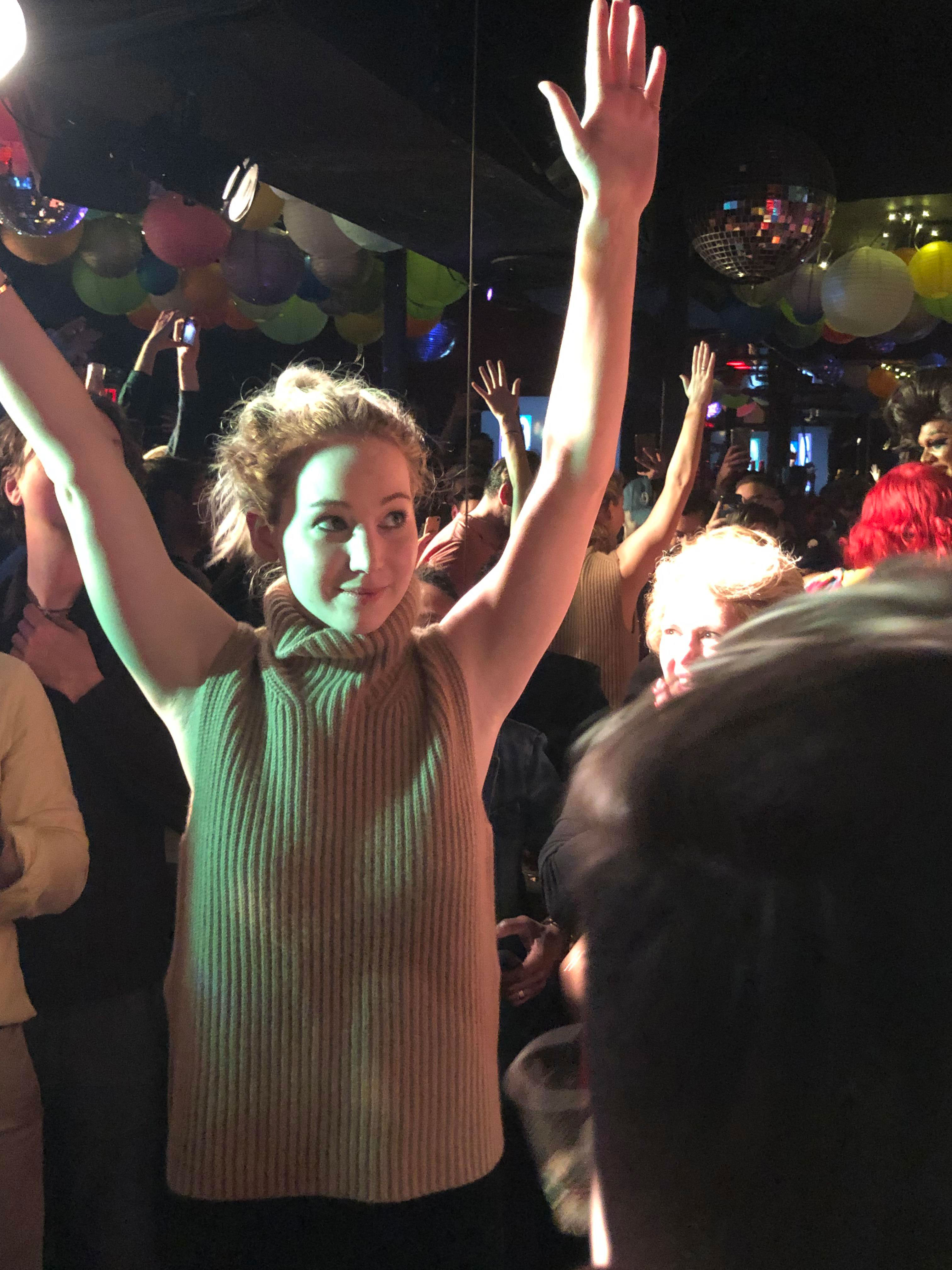 """Adele and Jennifer Lawrence party at NYC bar Pieces - Lawrence joked that being newly engaged """"has nothing to do with my drinking ability."""""""