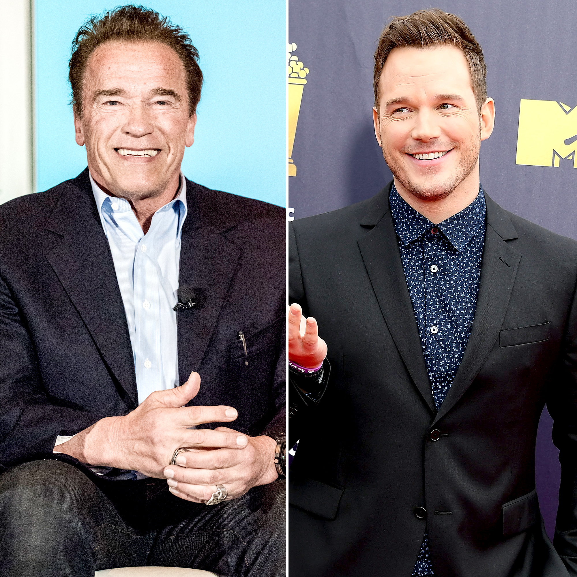 "Arnold-Schwarzenegger-Chris-Pratt - Pratt raved over his future father-in-law in June 2015. The Jurassic World star autographed his name next to Schwarzenegger's for The Late Late Show With James Corden , adding: ""Right next to friggin' Arnold!"""