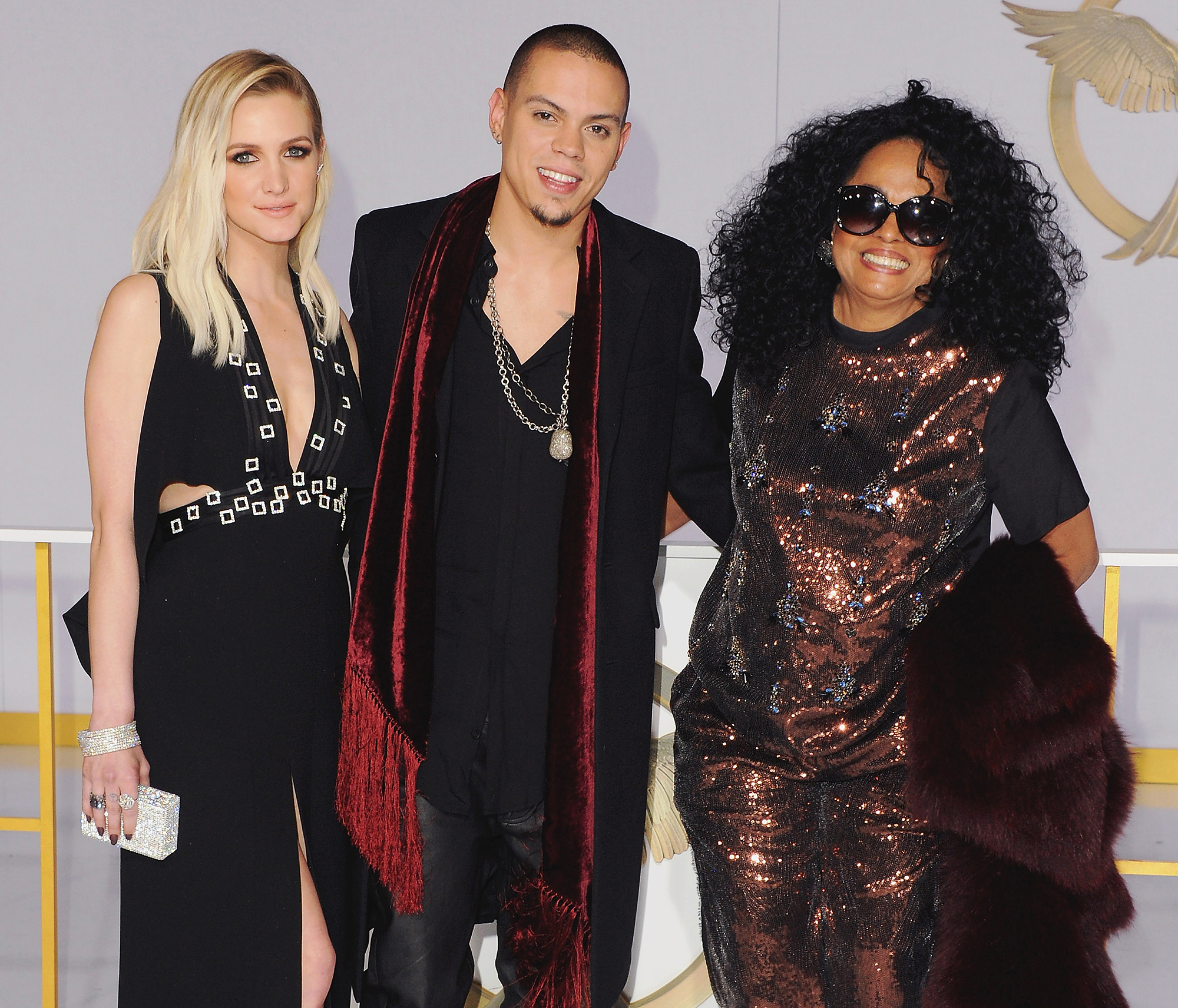 "Ashlee-Simpson-Evan-Ross-and-Diana-Ross - Evan Ross had his mother Diana's approval before he tied the knot with Simpson in August 2014. ""She loves her !"" the Hunger Games: Mockingjay star told Us in October 2013."