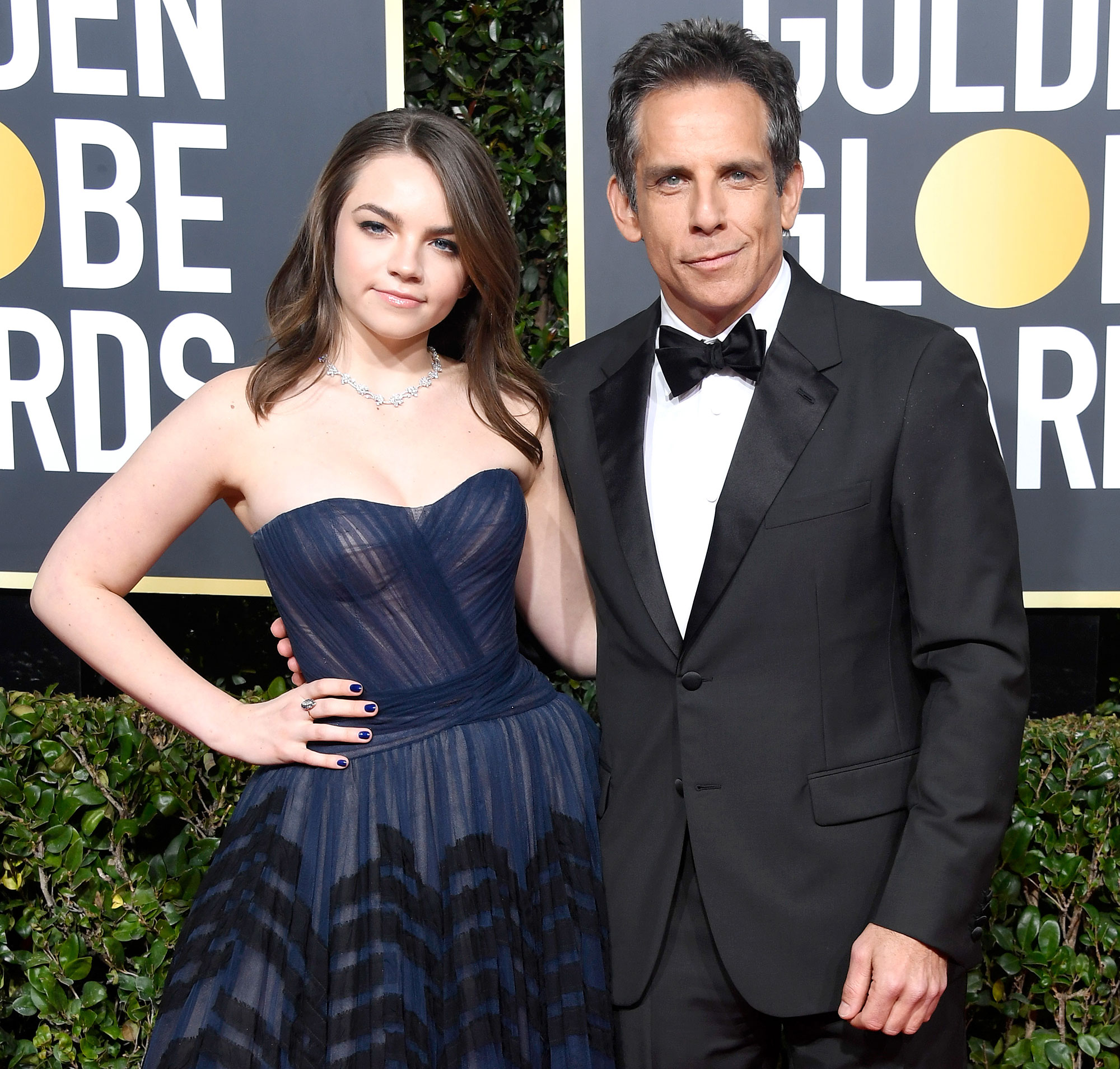 Ben Stiller Jokes Daughter Ella Football Scholarship Yale - Ella Olivia Stiller and Ben Stiller attend the 76th Annual Golden Globe Awards at The Beverly Hilton Hotel on January 6, 2019 in Beverly Hills.