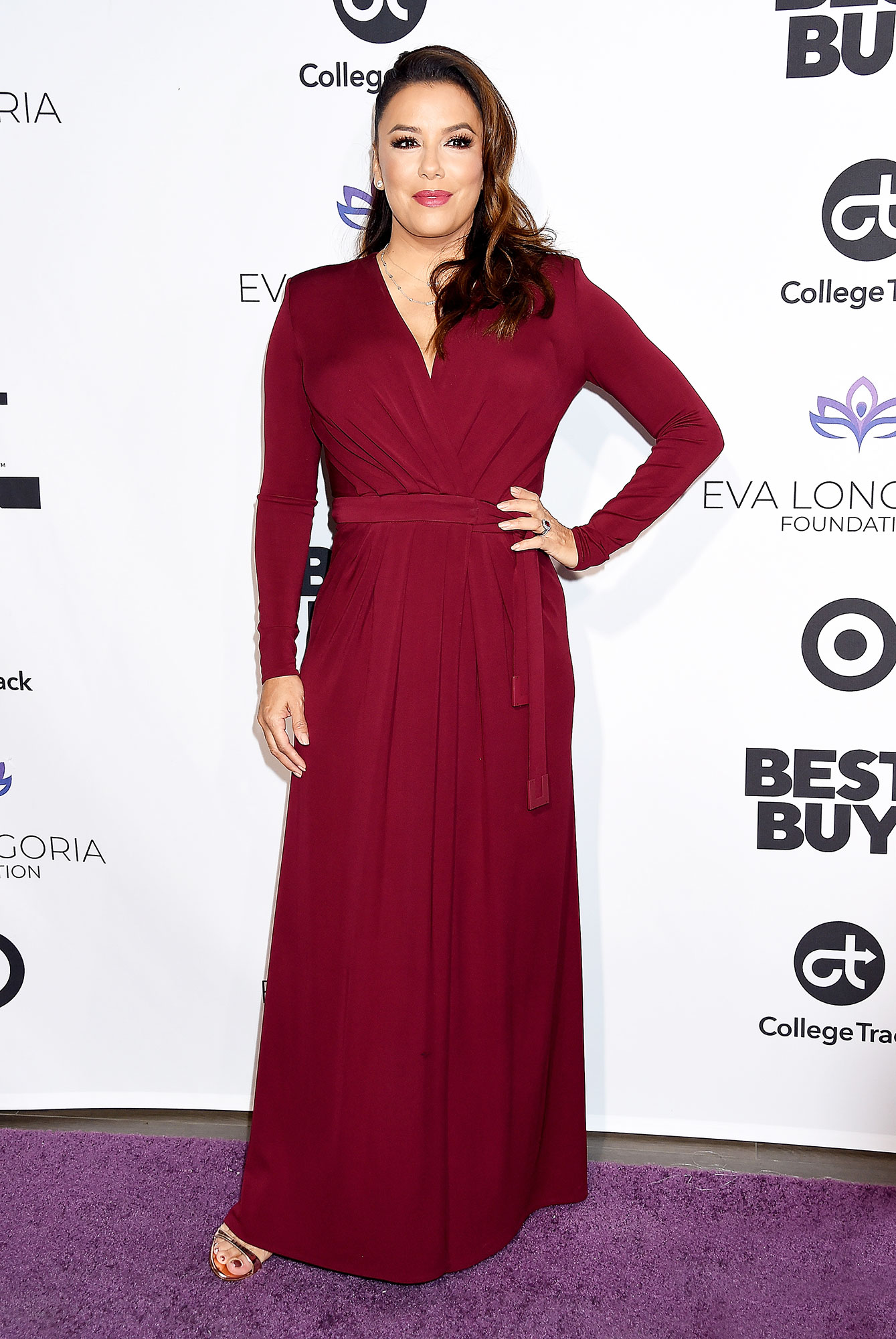 Stylish Burgundy Eva Longoria - In a jersey Elisabetta Franchi on Nov. 8.