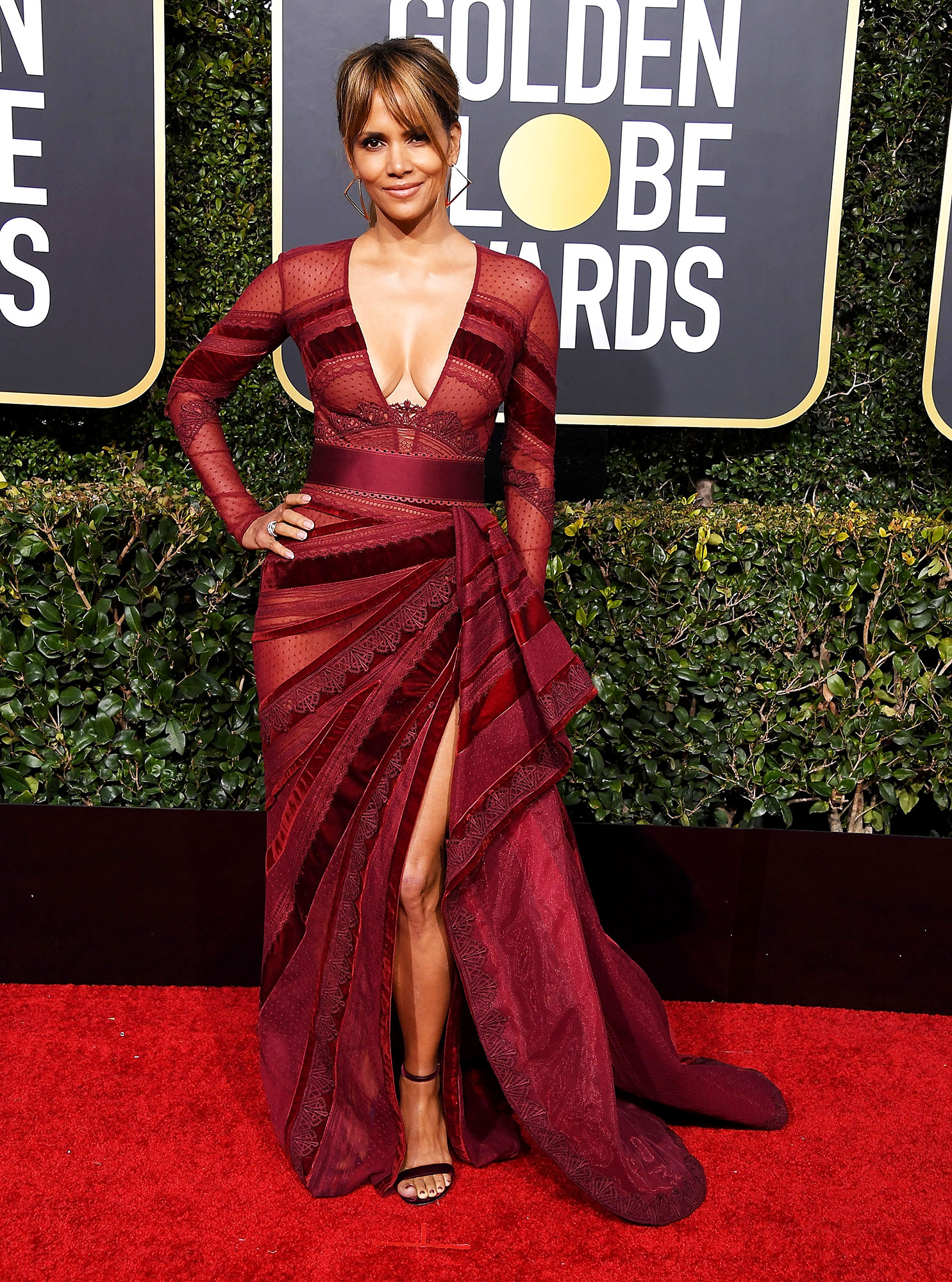 Halle Berry Stylish Burgundy - In a lace Zuhair Murad Couture on Jan. 6.