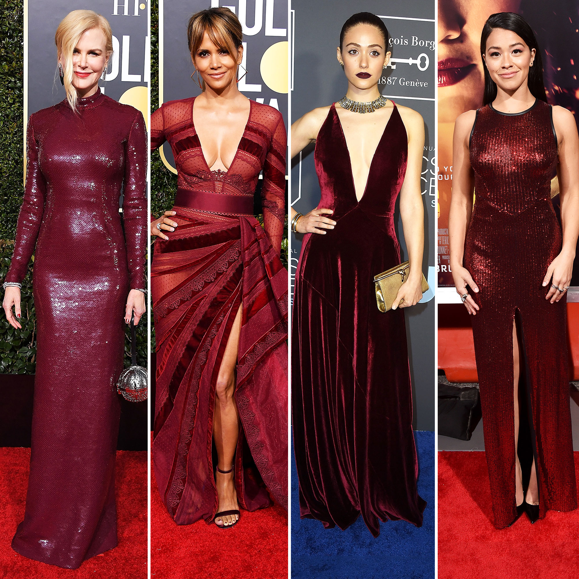 Nicole Kidman Halle Berry Emmy Rossum Gina Rodriguez Stylish Burgundy - Nicole Kidman, Halle Berry, Emmy Rossum and Gina Rodriguez