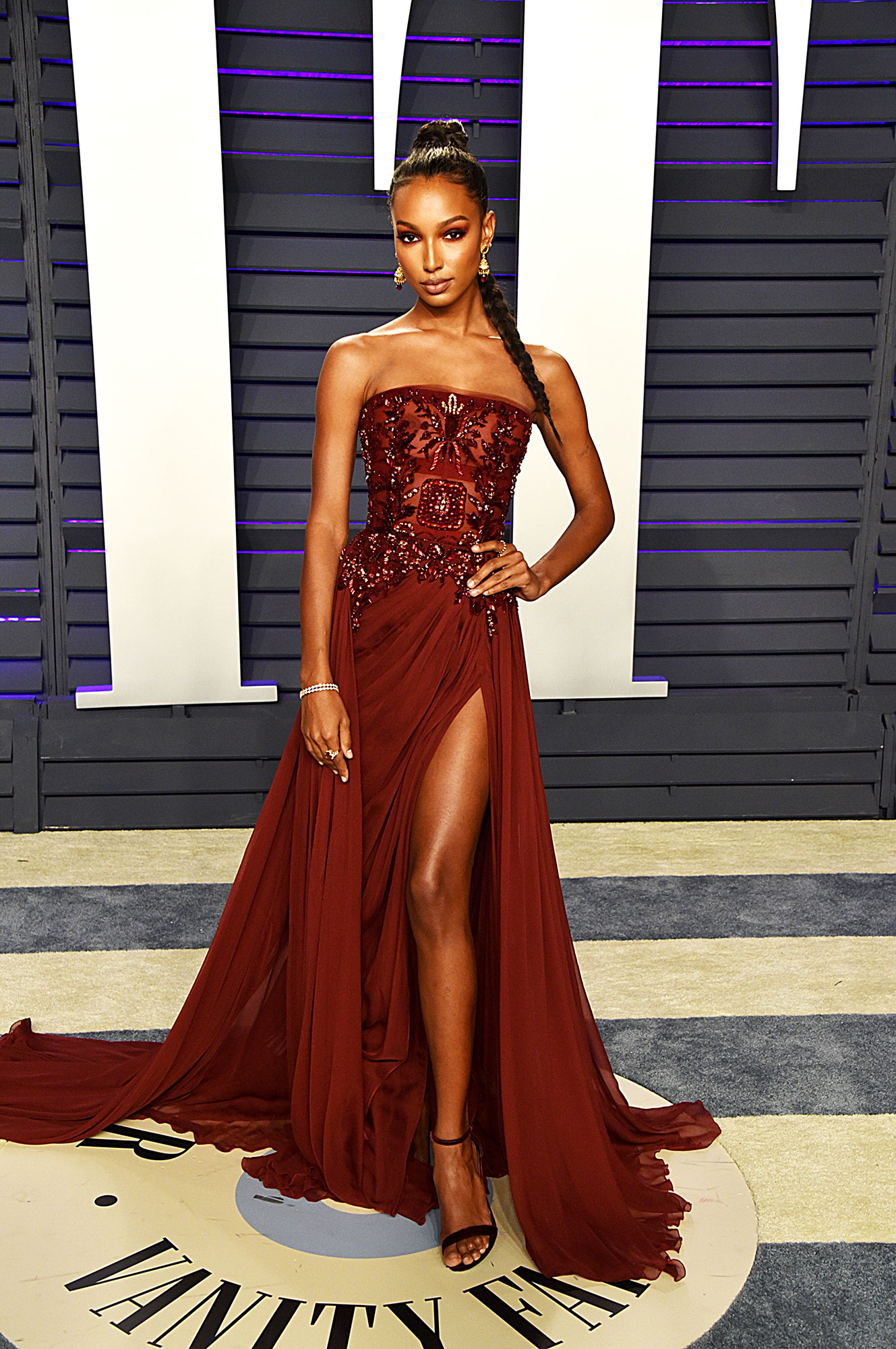 Stylish Burgundy Jasmine Tookes - In a chiffon Zuhair Murad Couture on Feb. 24.
