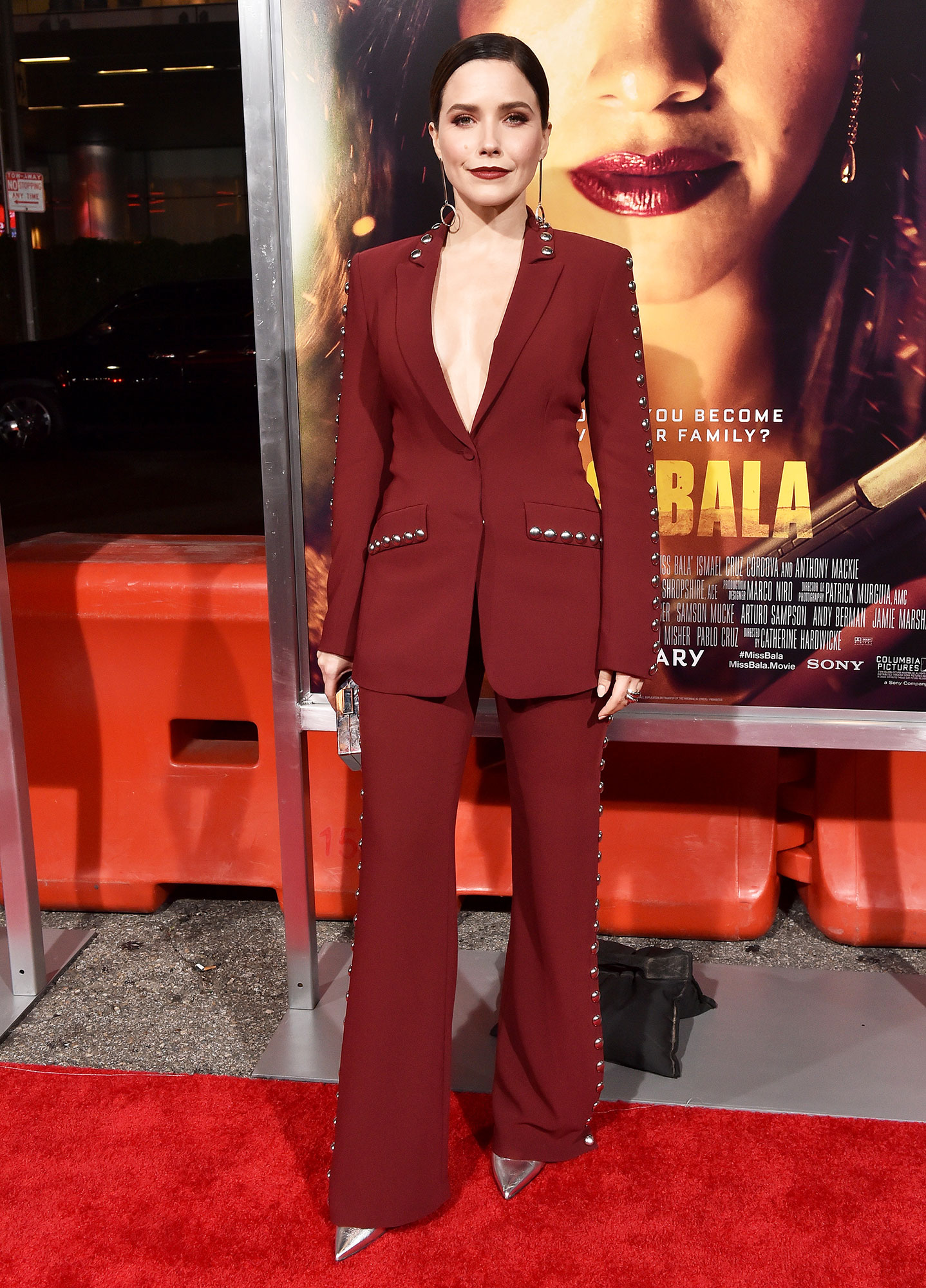 Stylish Burgundy Sophia Bush - In a crepe Cinq à Sept suit on Jan. 30.