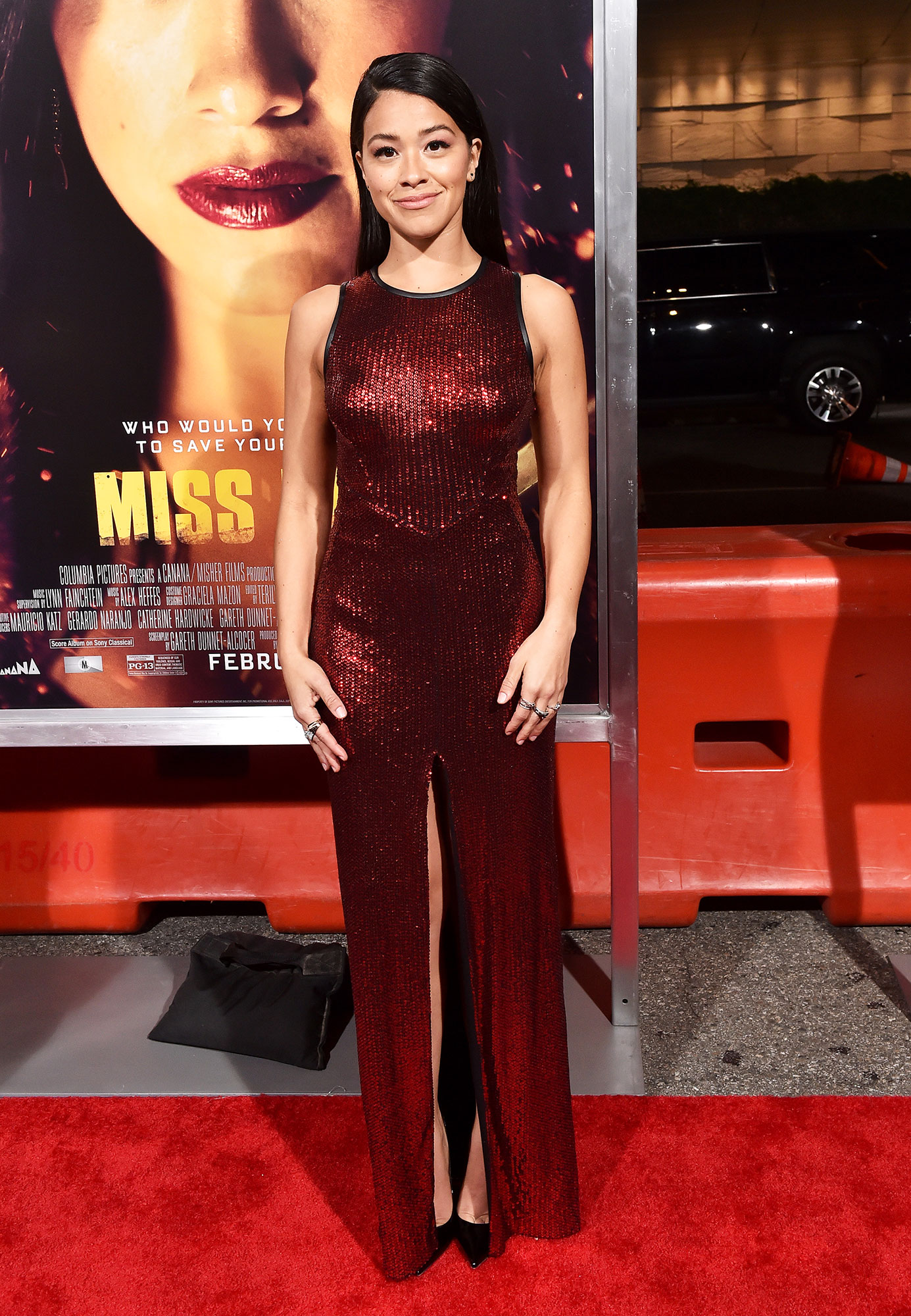 Stylish Burgundy Gina Rodriguez - In a sequin Julien Macdonald on Jan. 30.
