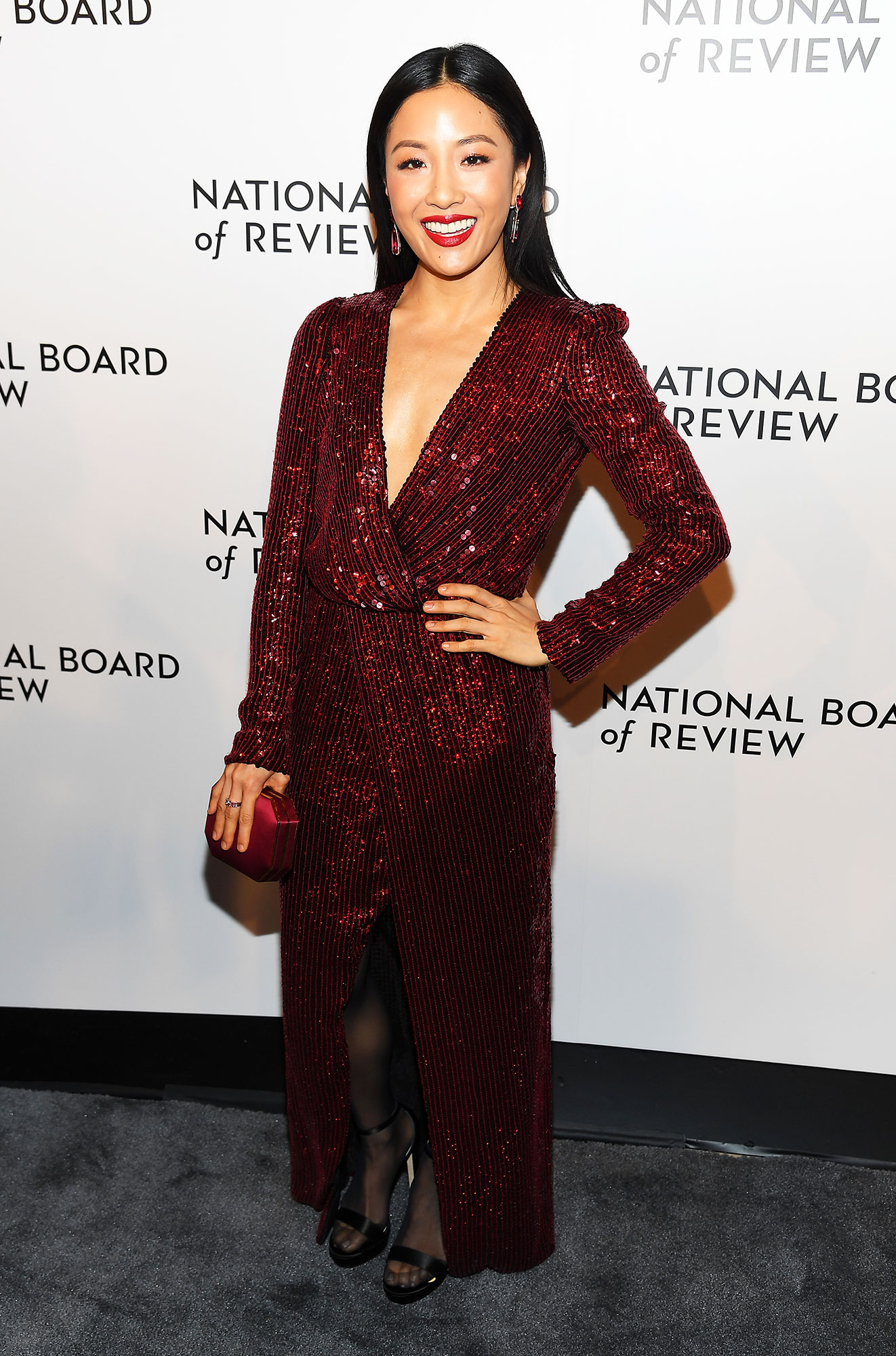 Stylish Burgundy Constance Wu - In an embroidered Galvan on Jan. 8.