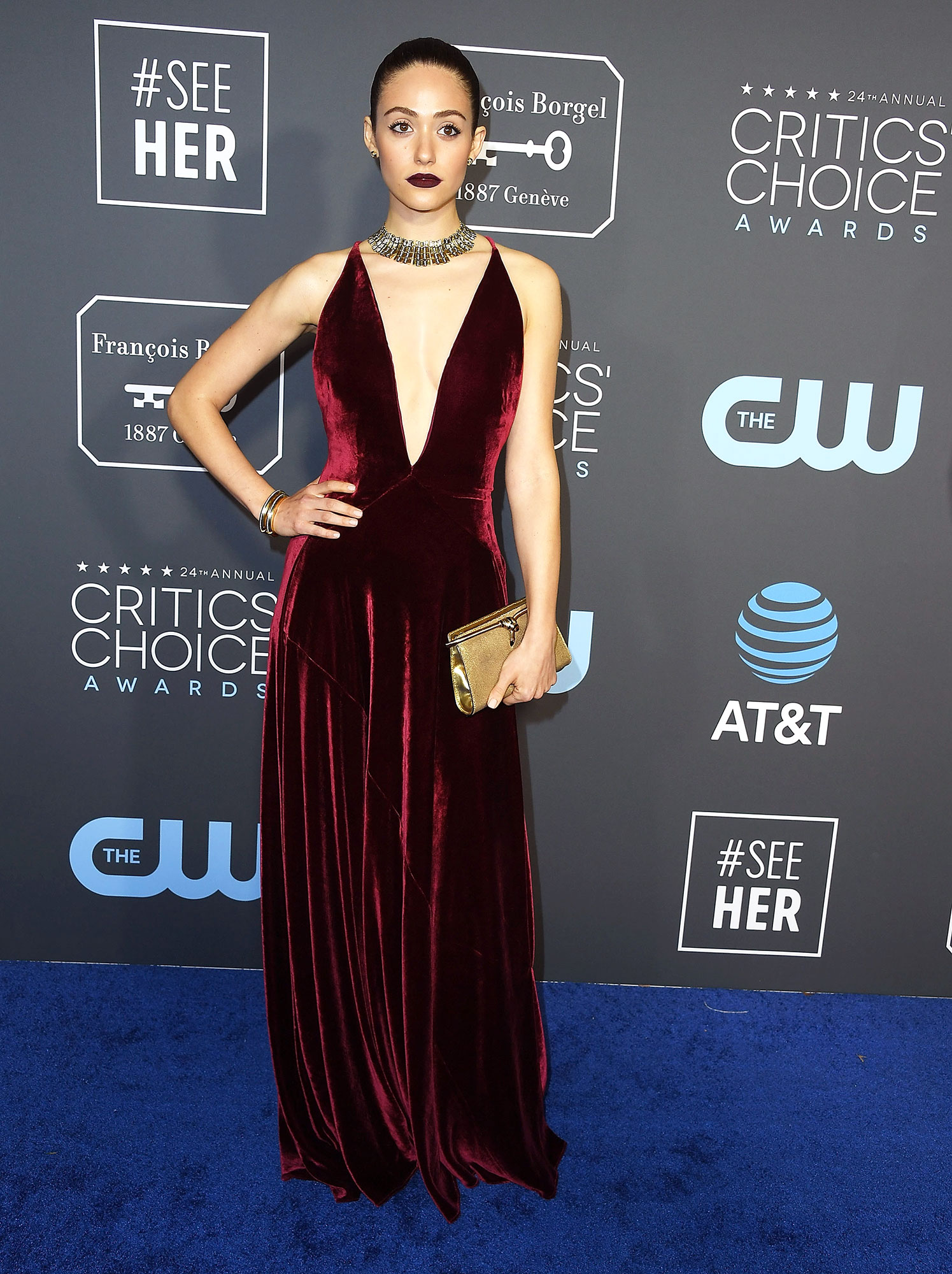 Stylish Burgundy Emmy Rossum - In a velvet Ralph Lauren Collection on Jan. 13.