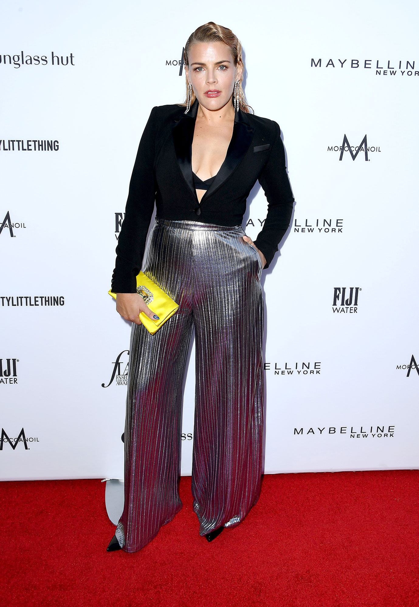 Stars Brought Their Style A-Game to the Daily Front Row Fashion Awards - The late night host attended the awards show in a jumpsuit with sparkly silver pant legs and a tuxedo jacket top.