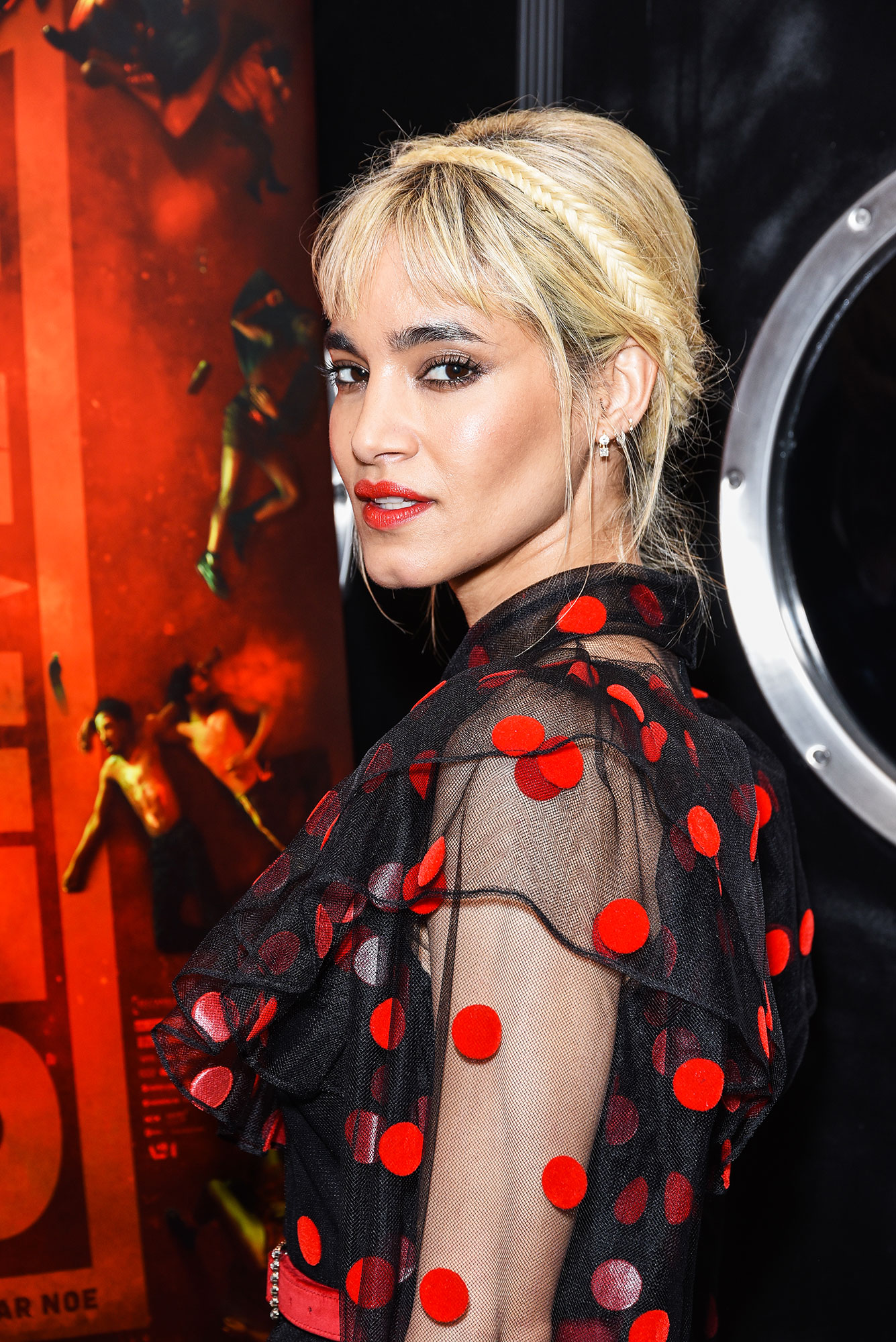 Sofia Boutella Celebs Are Here With All the Coachella Beauty Inspo You Need - The keys to the perfect music festival updo? Platinum blonde color, choppy bangs and a surprise fishtail, as mane man Adir Abergel proved with the edgy look he created for the actress at a screening in L.A. in February.
