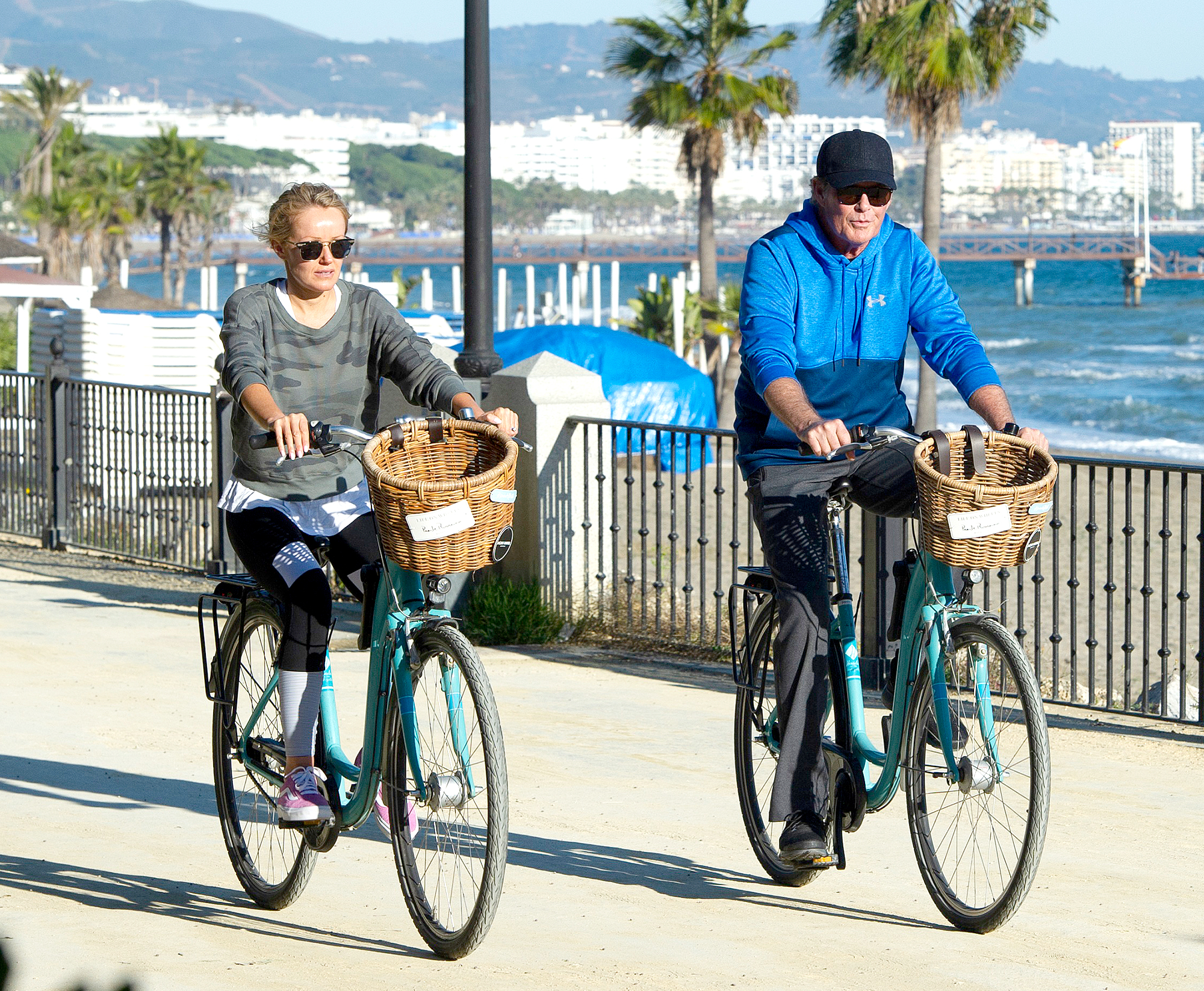 David-Hasselhoff--Hayley-Roberts-biking - On December 31, 2018, the Baywatch alum and his wife enjoyed a ride by the sea on vacation in Marbella, Spain.