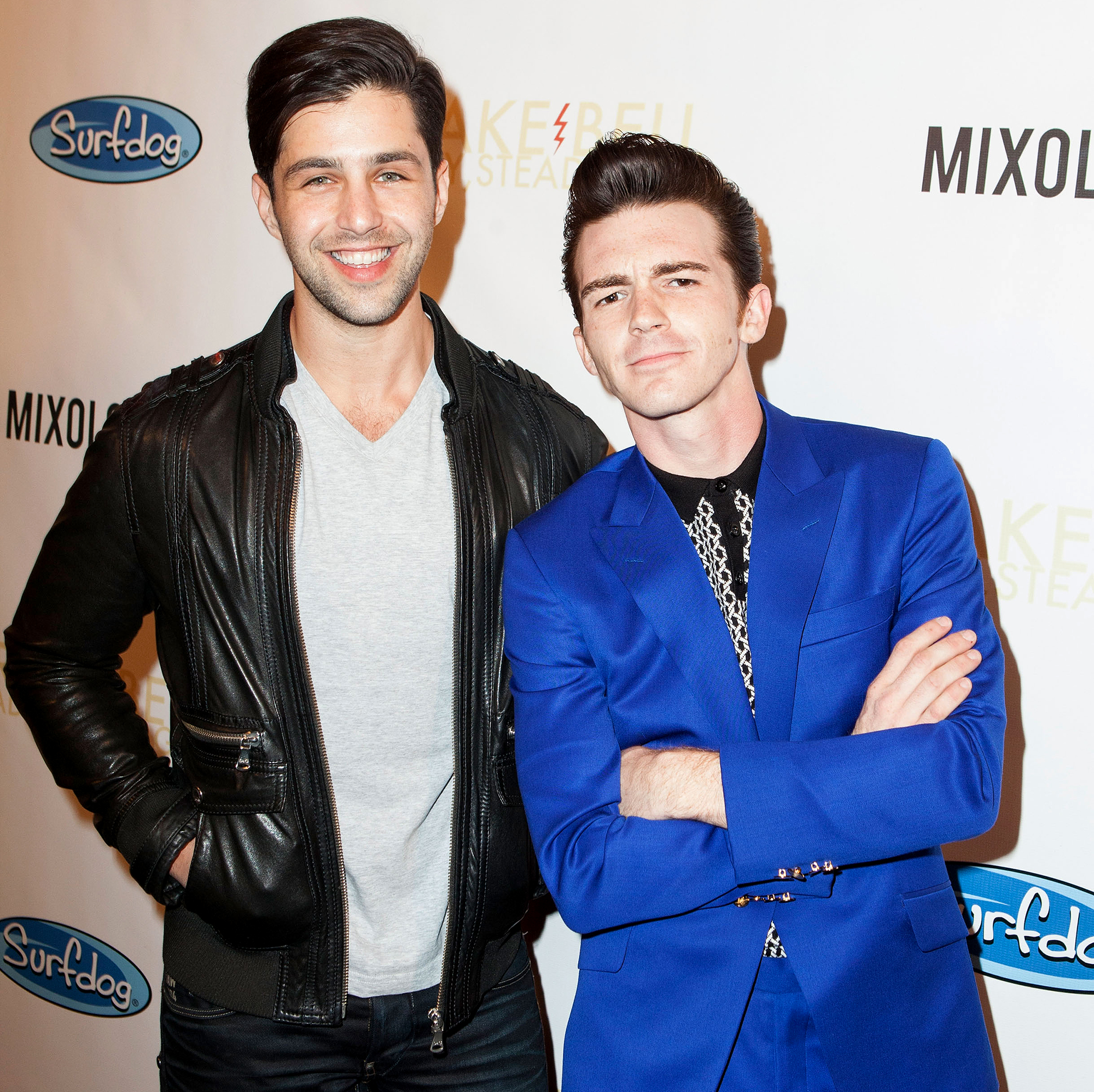 """Drake-Bell-Hasn't-Met-'Drake-&-Josh'-Costar-Josh-Peck's-Son-Yet-2 - Josh Peck and Drake Bell arrive for Drake Bell's """"Ready Steady Go!"""" Album Release Party at Mixology101 & Planet Dailies on April 17, 2014 in Los Angeles, California."""