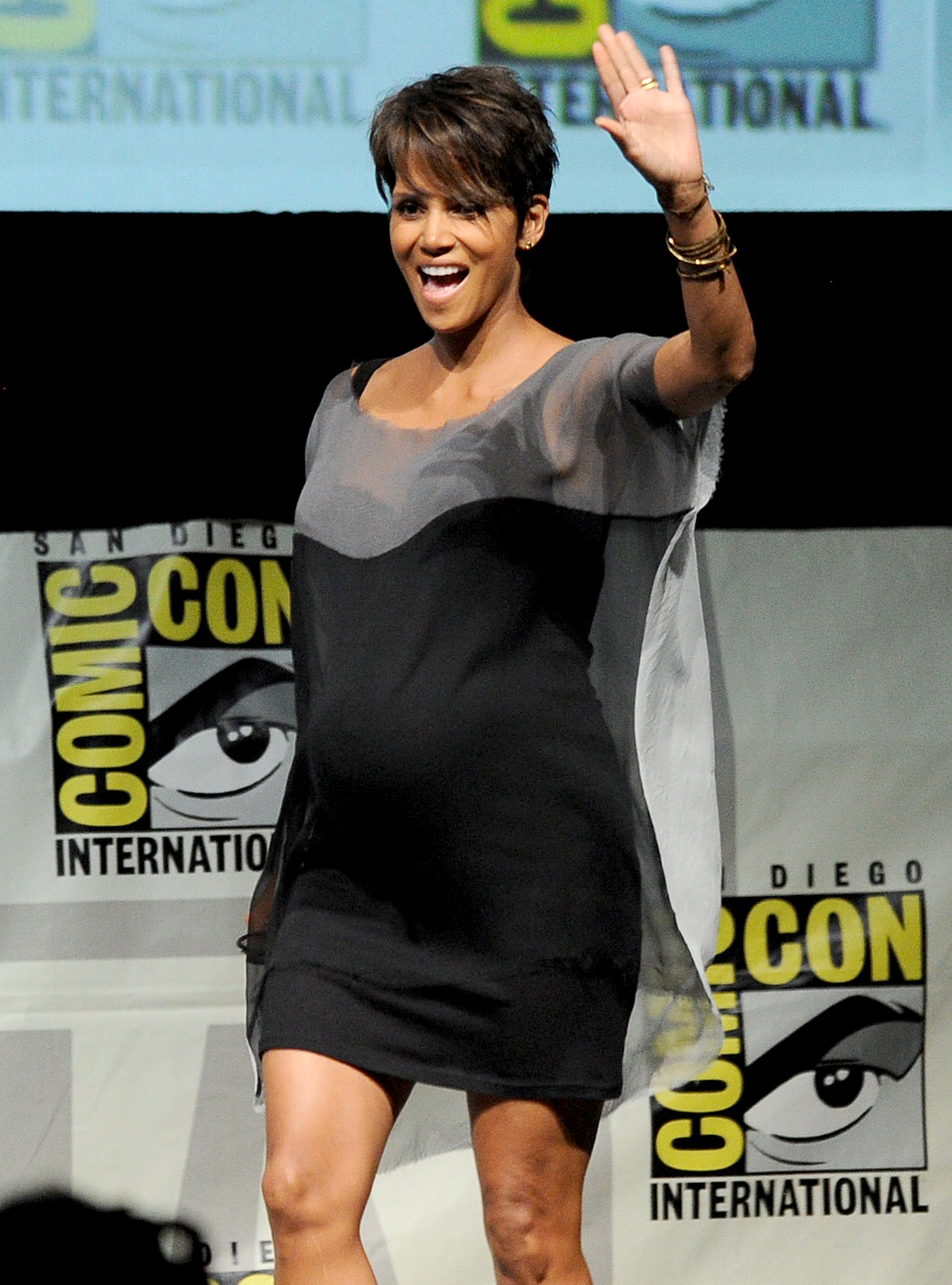 Halle-Berry-pregnant - Berry became a first-time mom at age 41 when she and then-boyfriend Gabriel Aubry said hello to daughter Nahla in March 2008. She confirmed her second pregnancy — at age 46 — in April 2013.