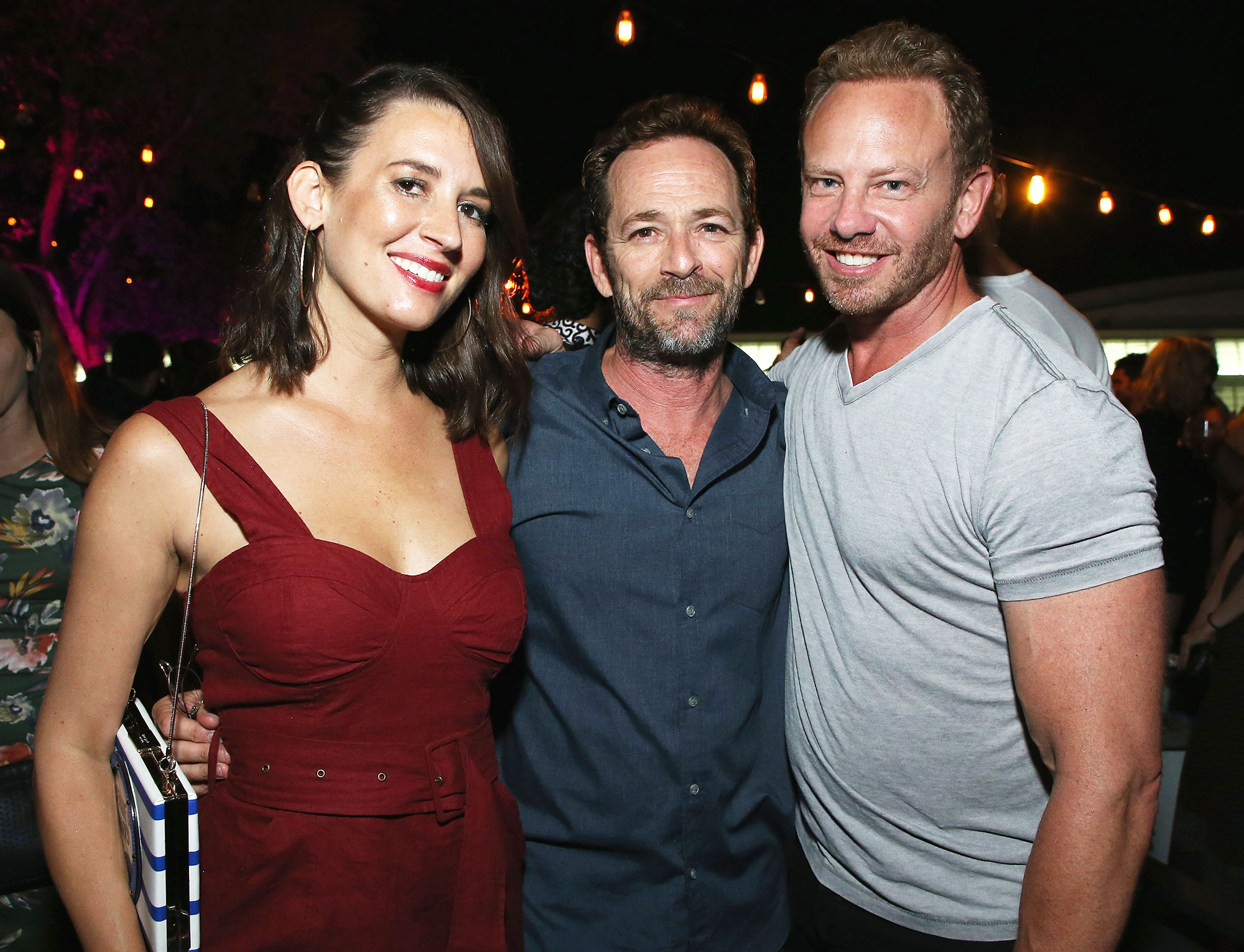 Ian Ziering Shares Luke Perry Story - Erin Ludwig, Luke Perry and Ian Ziering on July 21, 2018 in San Diego, California.